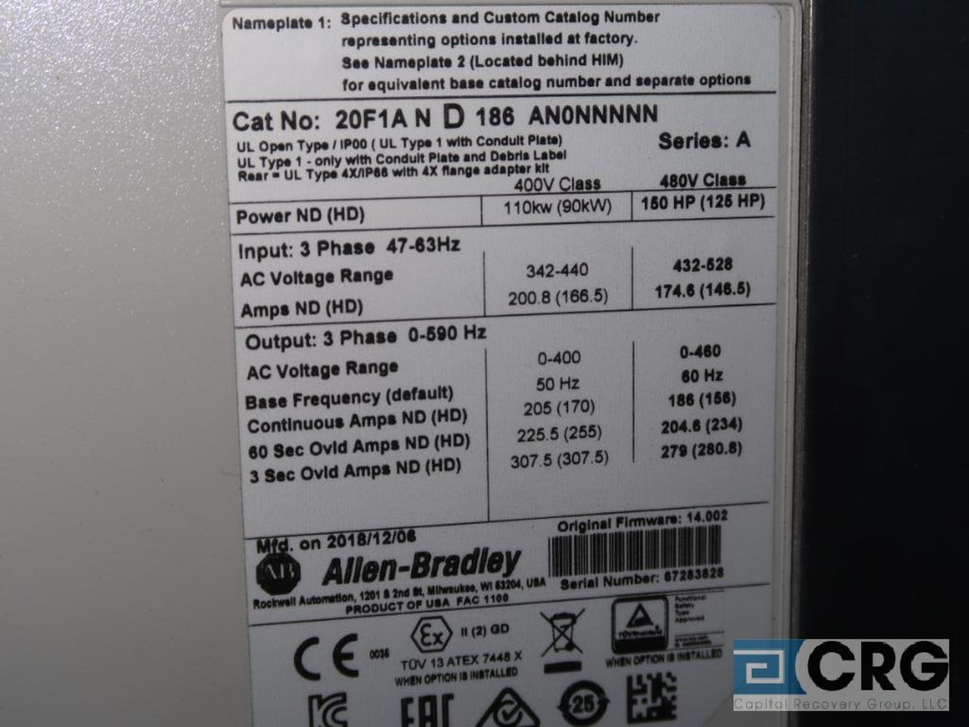 Allen Bradley Power Flex 753 150 HP variable frequency drive, 480 volt, s/n 67283828 (Finish - Image 2 of 2