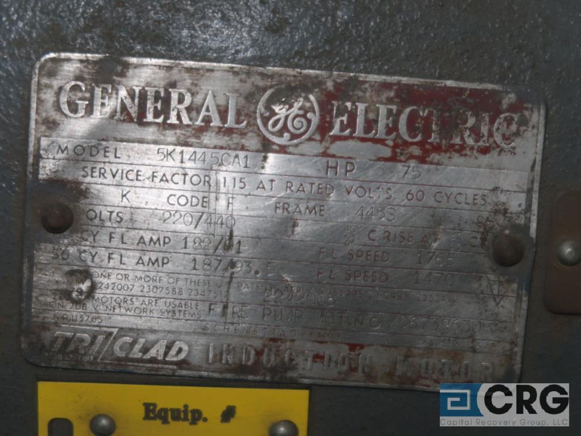 General Electric induction motor, 75 HP, 1,765 RPMS, 220/440 volt, 3 ph., 445S frame (Finish - Image 2 of 2