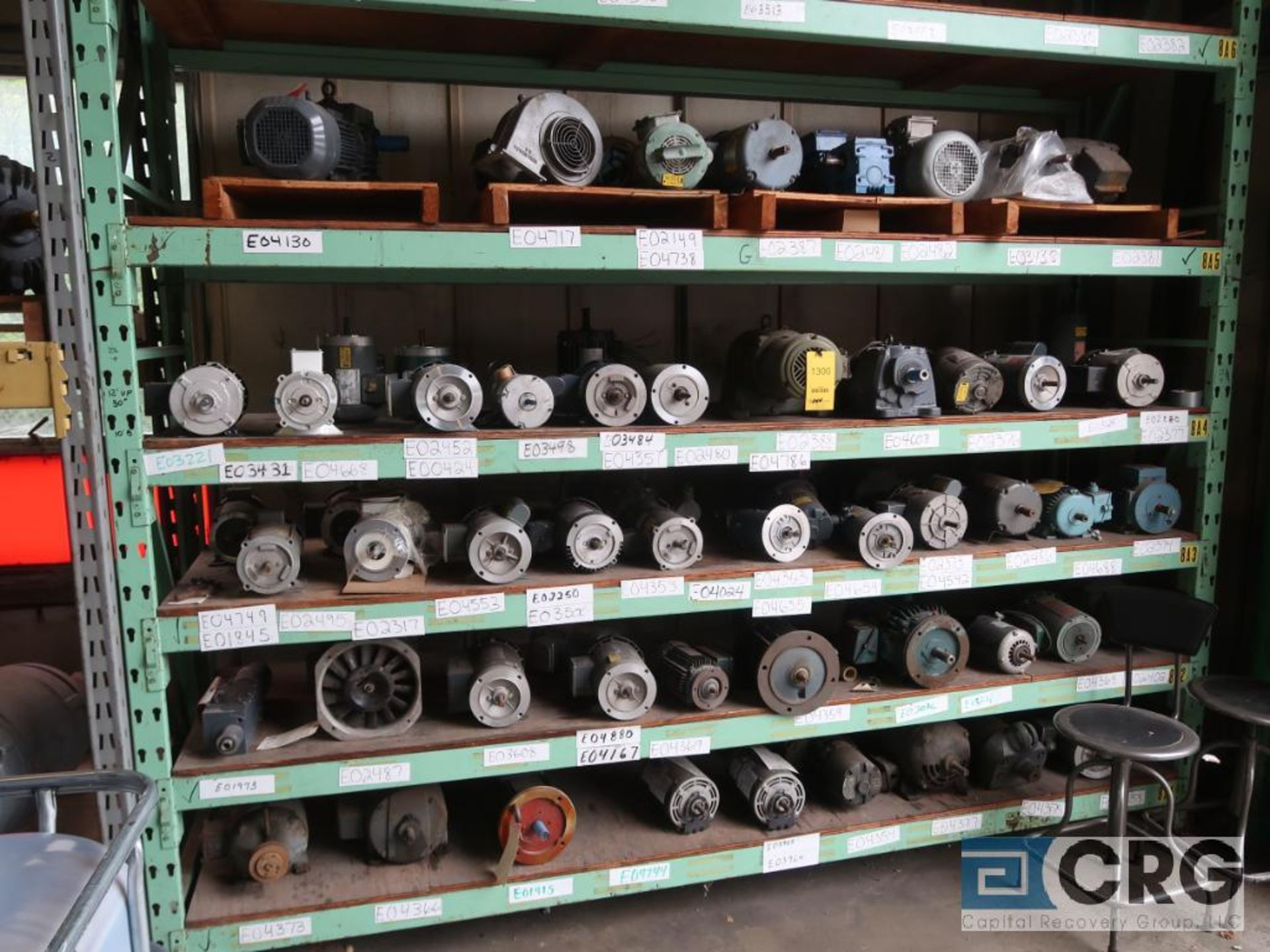 Lot of (58) assorted 5 HP and smaller motors on (5) shelves (Motor Building)