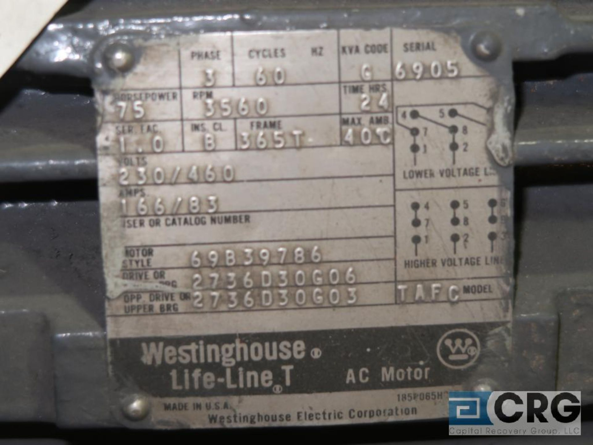 Westinghouse Life-Line T AC motor, 75 HP, 3,560 RPMs, 230/460 volt, 3 ph., 365T frame (Finish - Image 2 of 2
