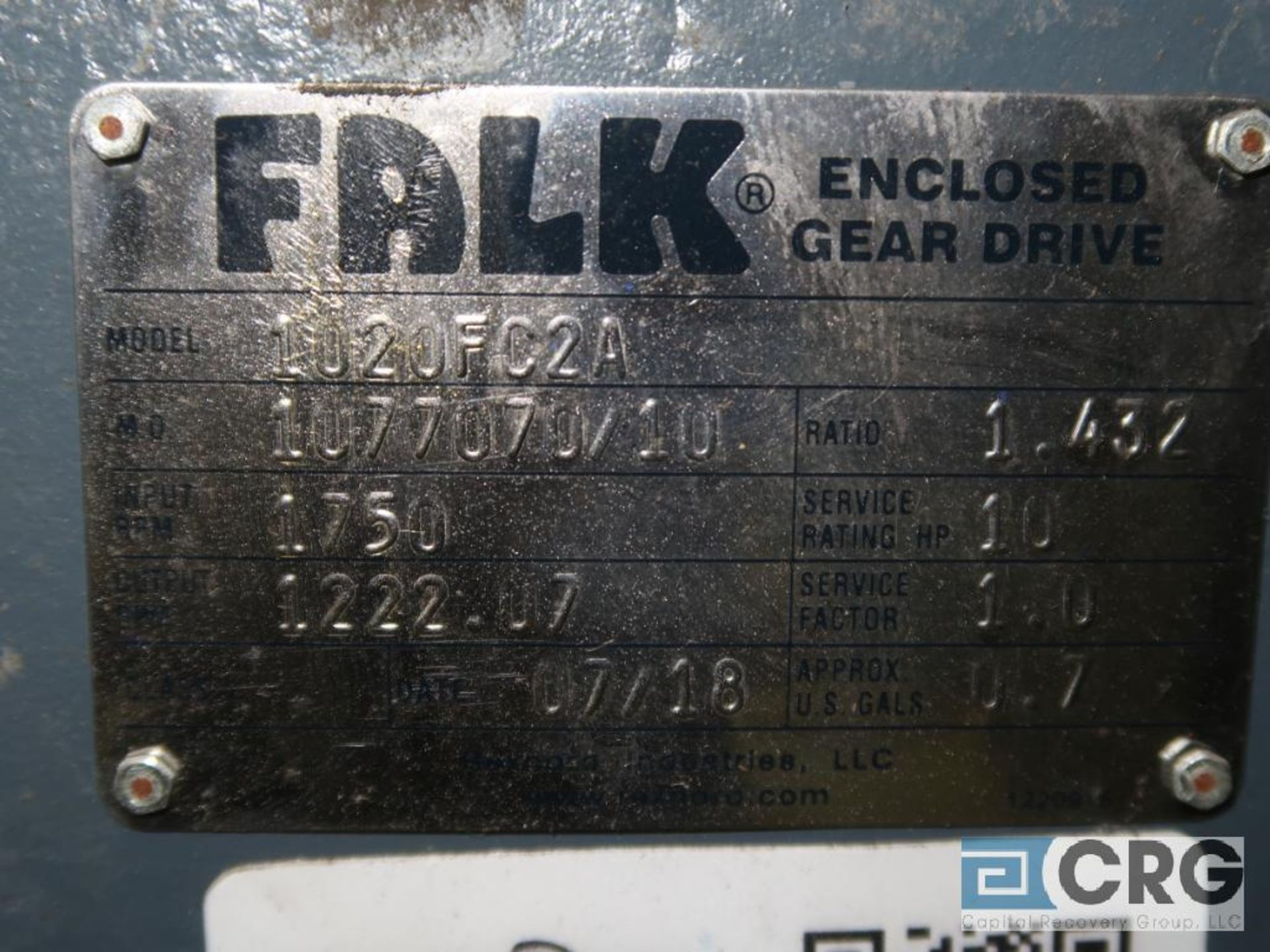 Falk 1020 FC2A gear drive, ratio 1.452, 122.07 RPM, s/n 707010 (Finish Building) - Image 2 of 2
