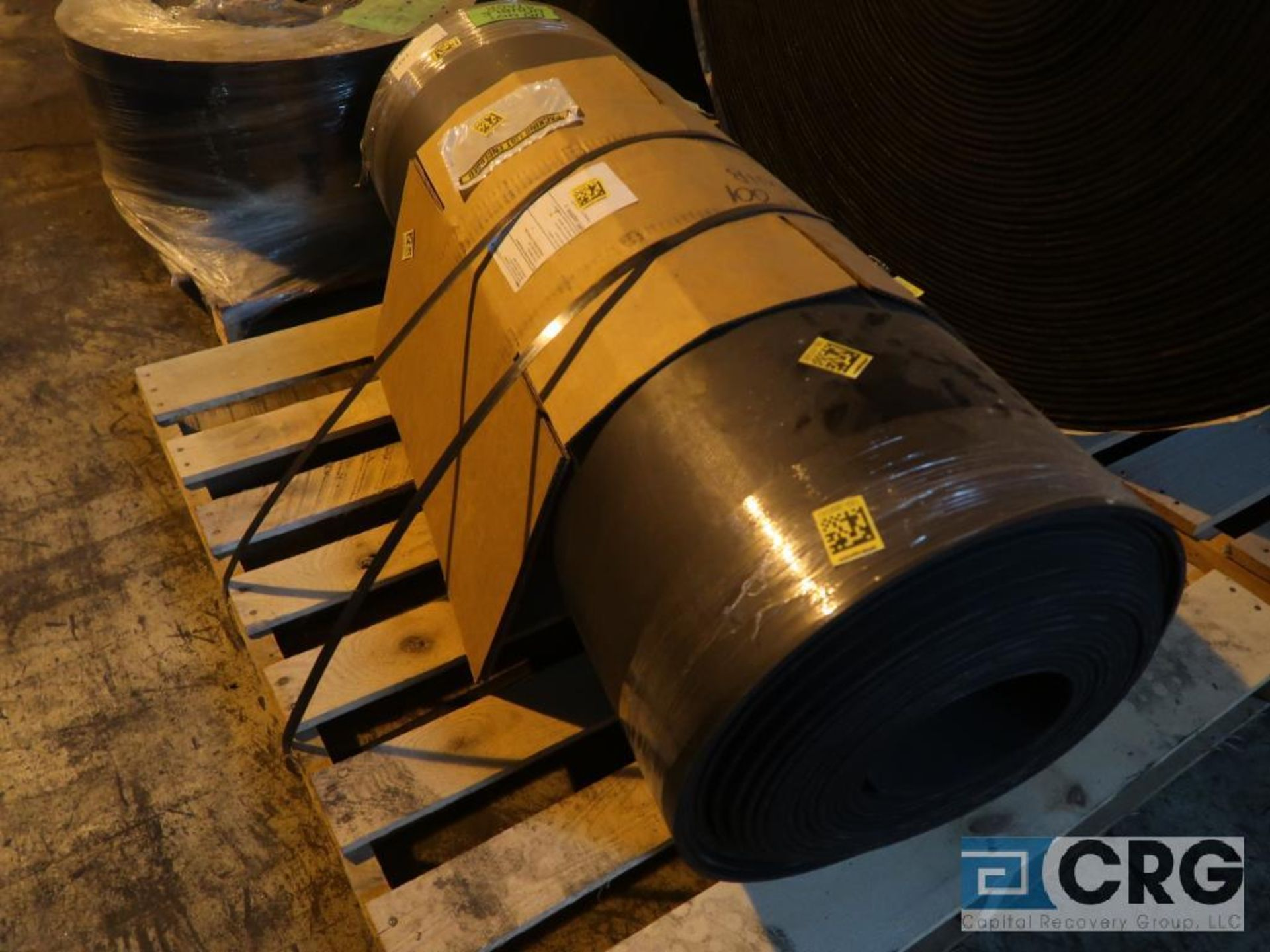 Lot of conveyor parts including belting, pulleys, and rollers (Next Bay Cage Area) - Image 3 of 5