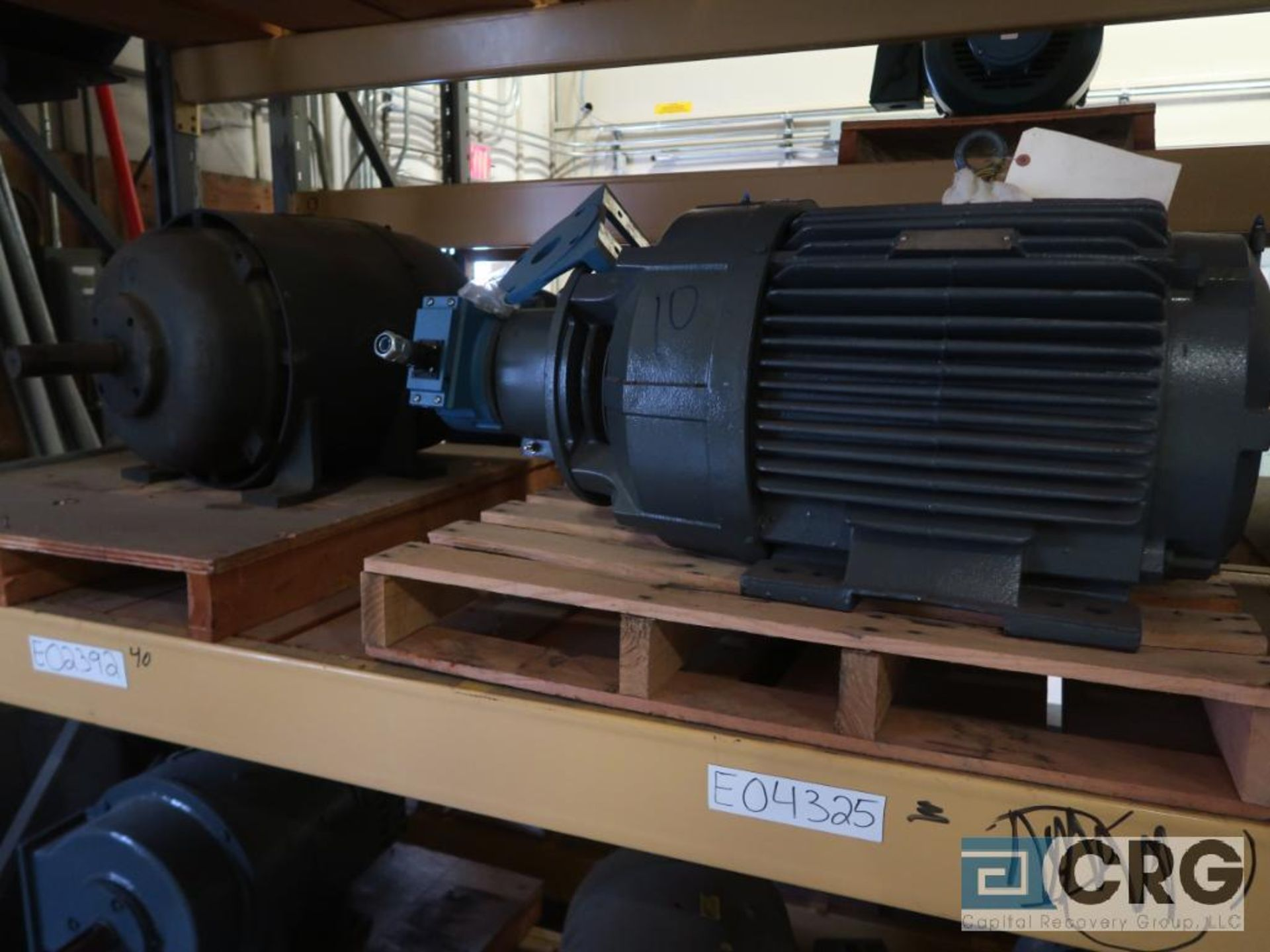Lot of (29) assorted 15 HP, 10 HP, and 7.5 HP motors on (7) shelves, some with gear drives (Motor - Image 8 of 11
