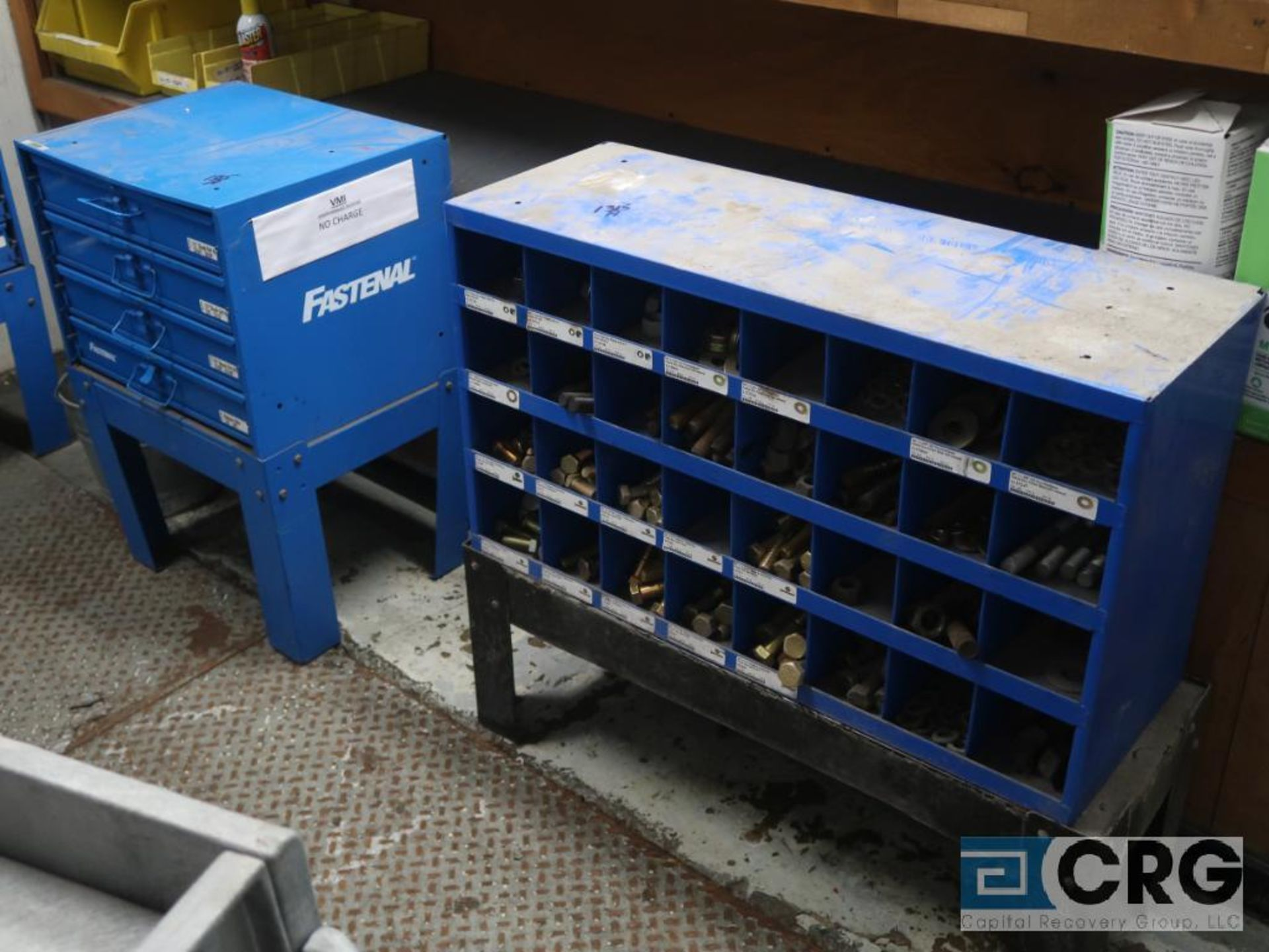 Nut and bolt 4 drawer parts bin with parts including wire, nuts, springs, cotter pins, and bin - Image 3 of 4