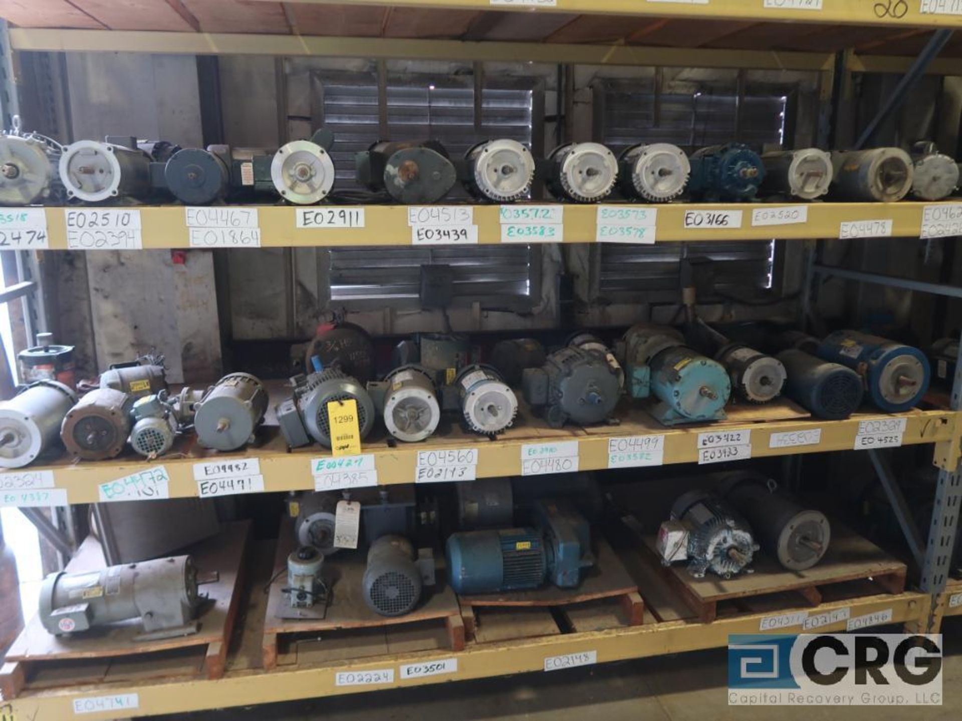 Lot of (116) assorted 5 HP and smaller motors on (9) shelves (Motor Building)