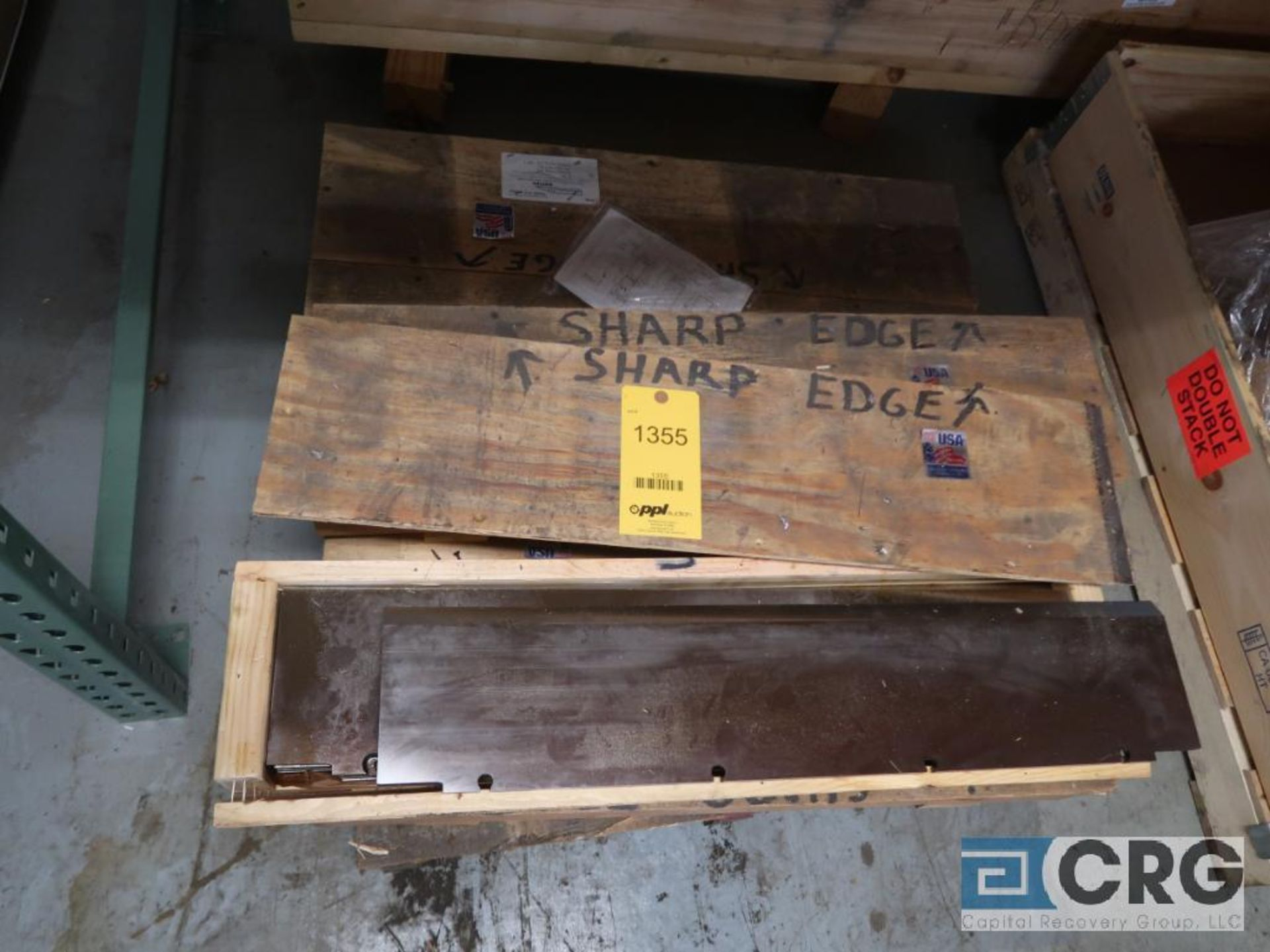 Lot of (6) boxes of Lancaster blades for chipper, (6) per box, 31 in. x 7 in. W (Basement Stores)
