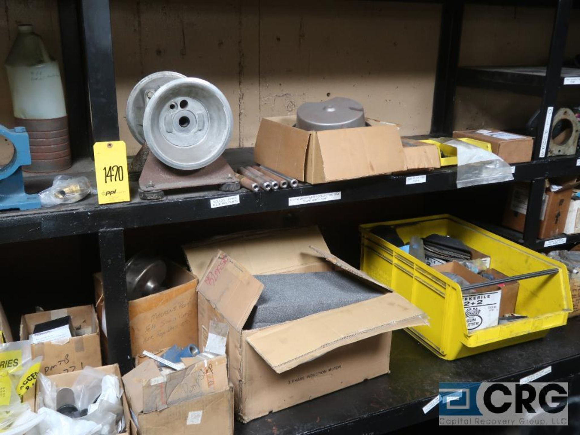 Lot of assorted parts on (4) sections and on wood shelving including motor, guards, housing, pump - Image 10 of 20
