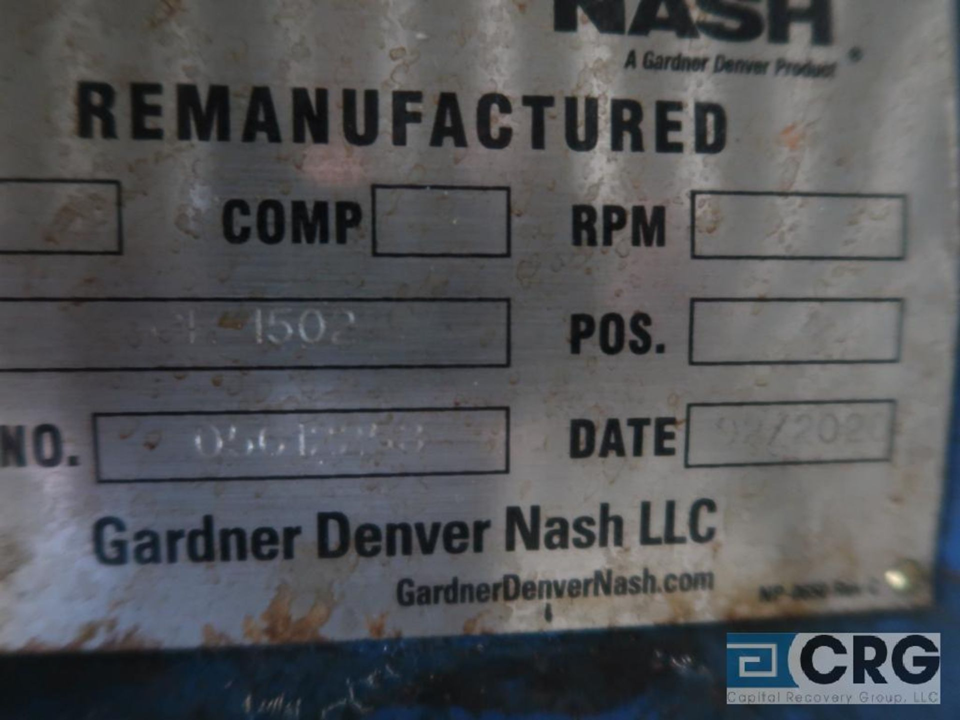 Nash CL1502 vacuum pump, remanufactured year 2020, s/n 05612253 (Off Site Warehouse) - Image 2 of 2