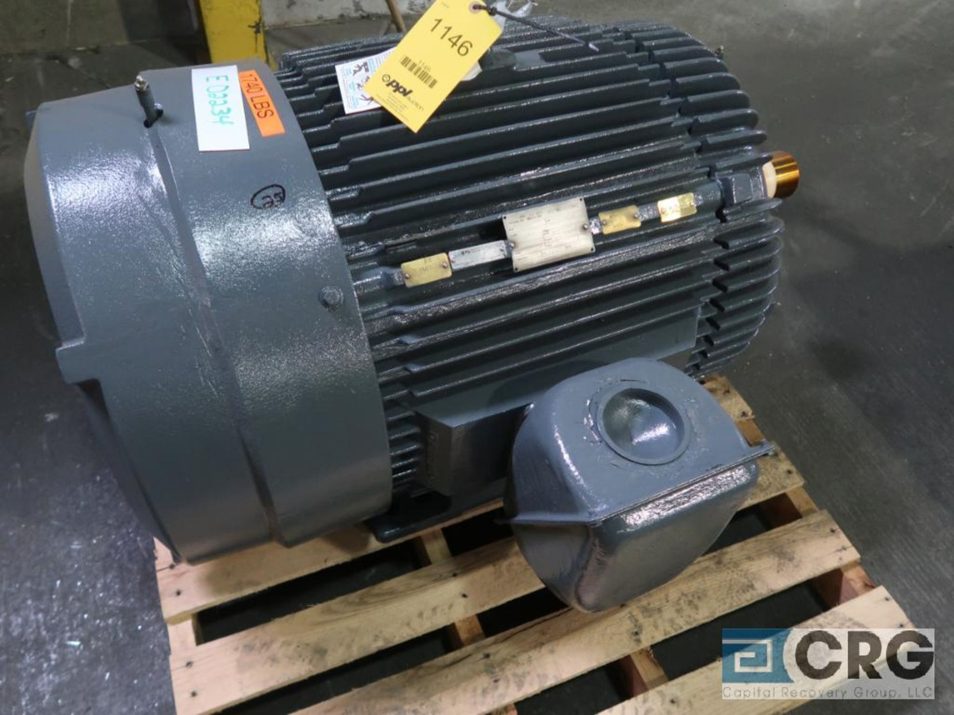 Reliance electric motor, 150 HP, 1,760 RPMs, 460 volt, 3 ph., 445T frame (Finish Building)