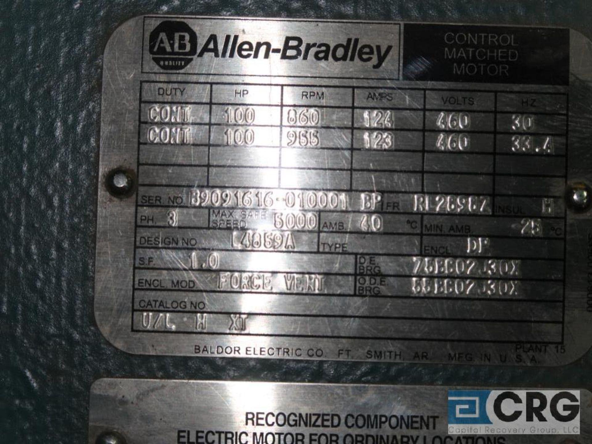 Allen Bradley Control Matched motor, 100 HP, 955 RPMs, 460 volt, 3 ph., RL2898Z frame (Finish - Image 2 of 2