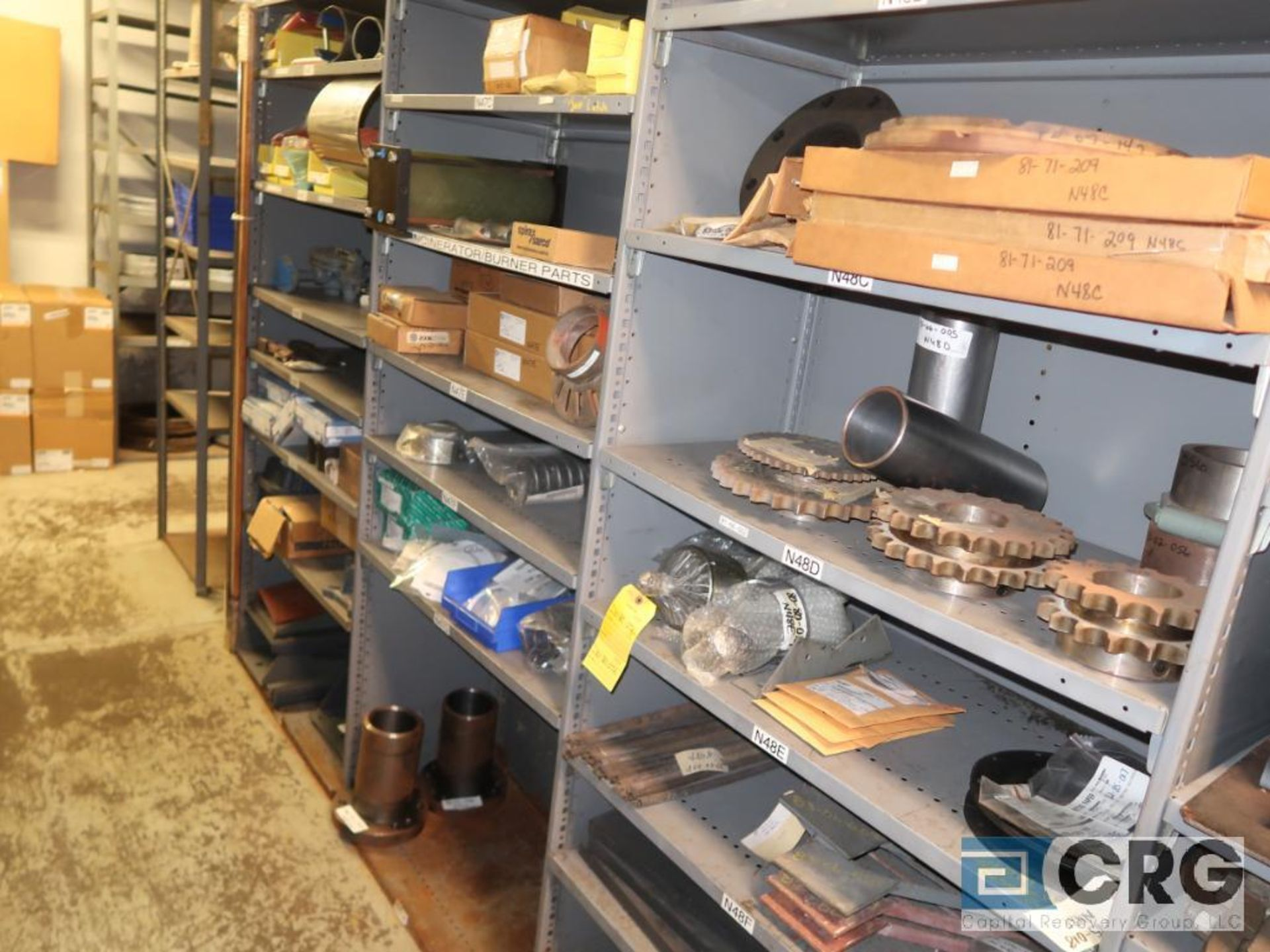 Lot of (35) sections with assorted parts including gaskets, fittings, shaft pins, gears, and - Image 4 of 17