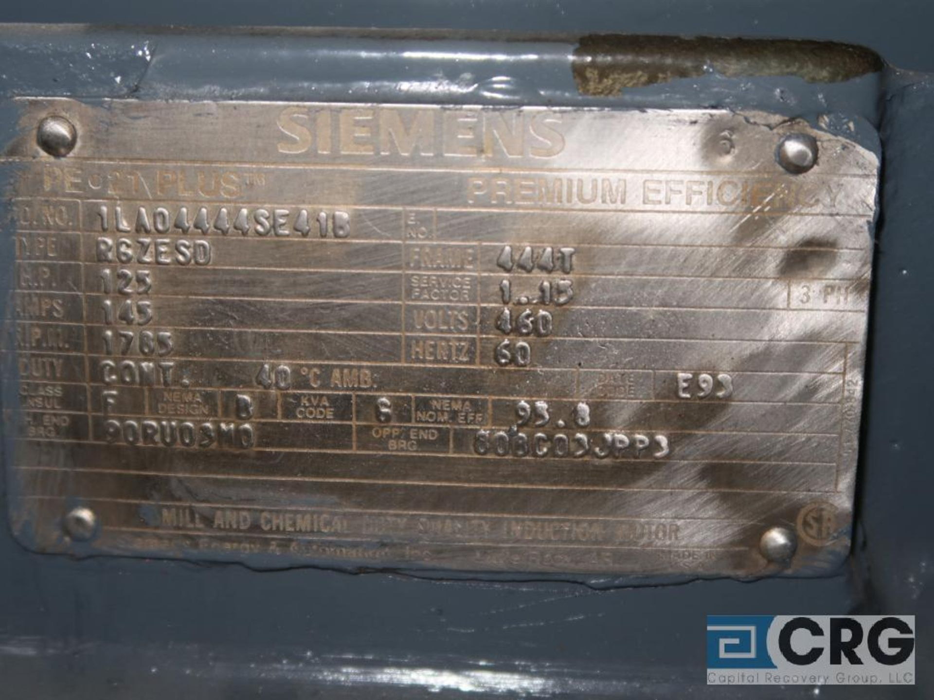 Siemens PE-21 PLUS motor, 125 HP, 1,785 RPMs, 460 volt, 3 ph., 444T frame (Finish Building) - Image 2 of 2