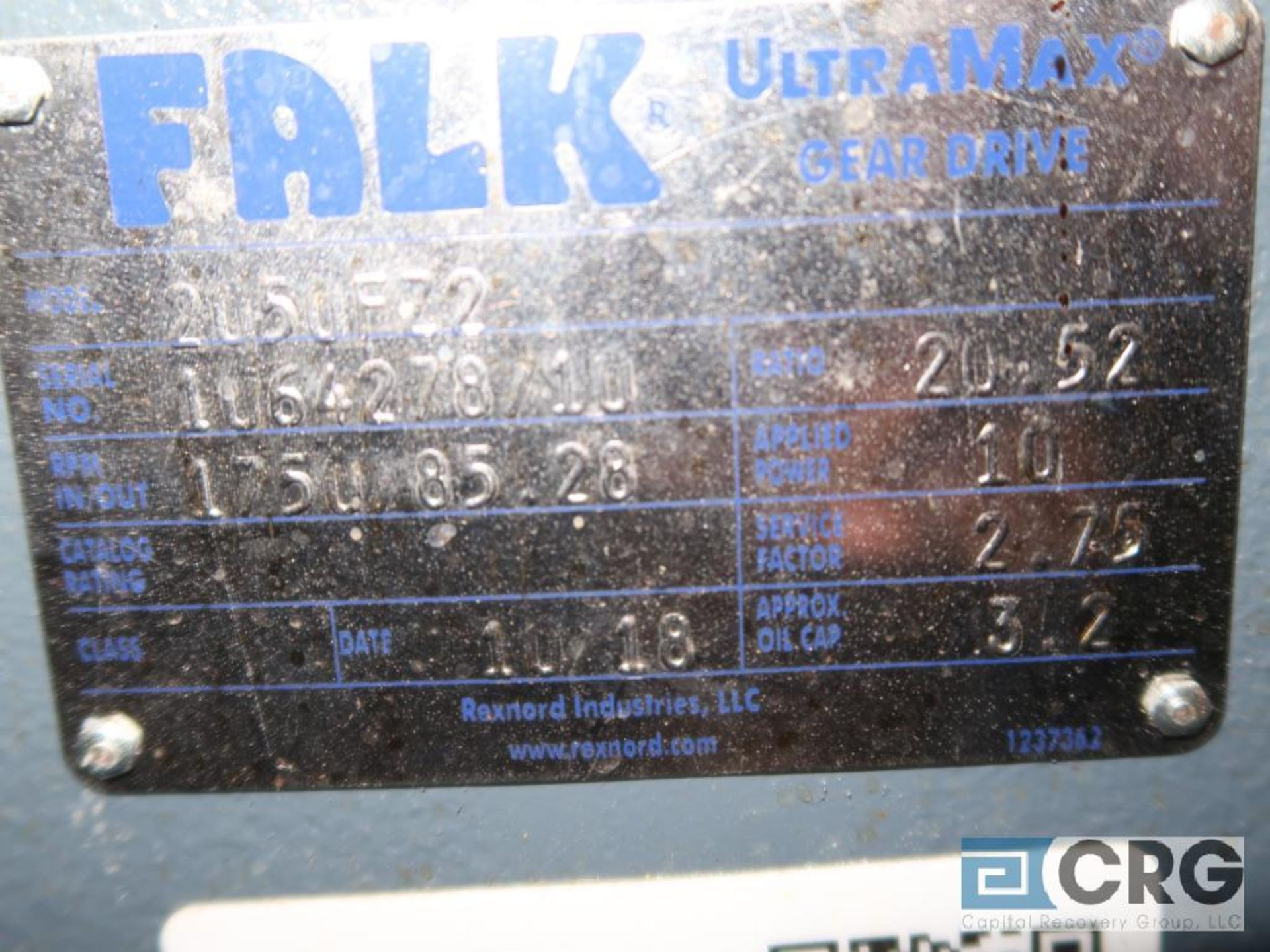 Falk 2050 FZ2 gear drive, ratio 20.52, input RPM 1,750/85.20, service rate HP. 10, s/n 4278710 (Next - Image 2 of 2
