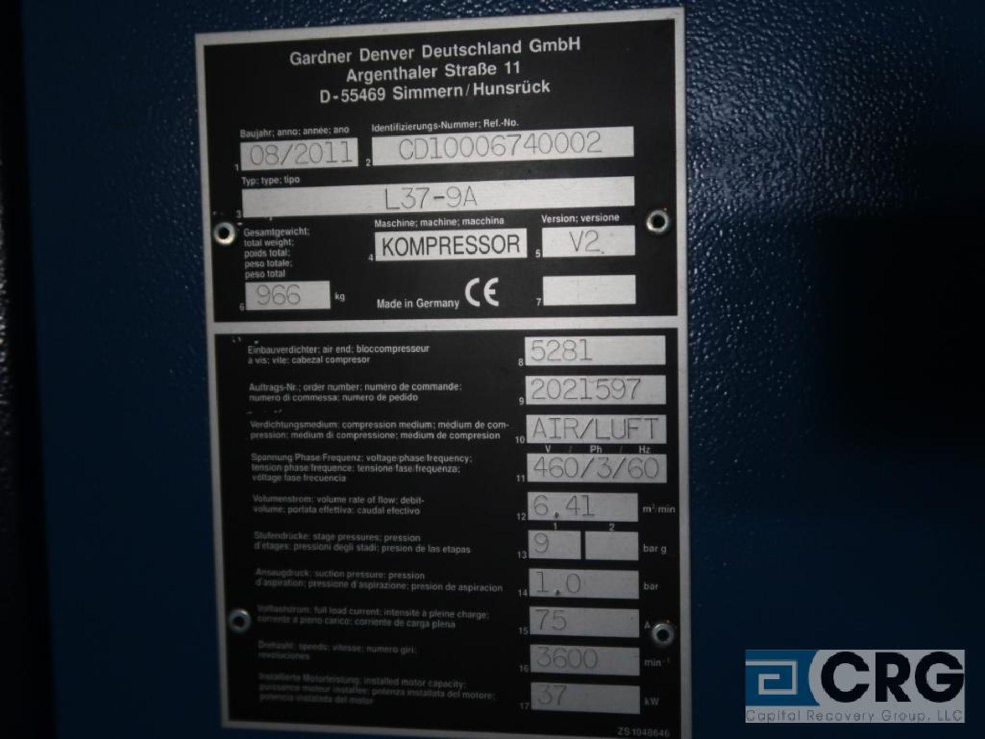 Gardner Denver L37RS DELCOSXL air compressor, mfg. 2011, s/n 6740002 (Off Site Warehouse) - Image 3 of 3