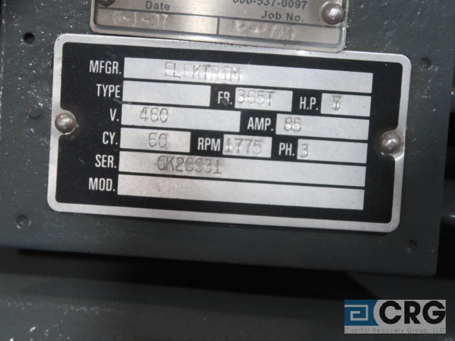 Elektrim electric motor, 75 HP, 1,775 RPMs, 460 volt, 3 ph., 365T frame (Finish Building) - Image 2 of 2