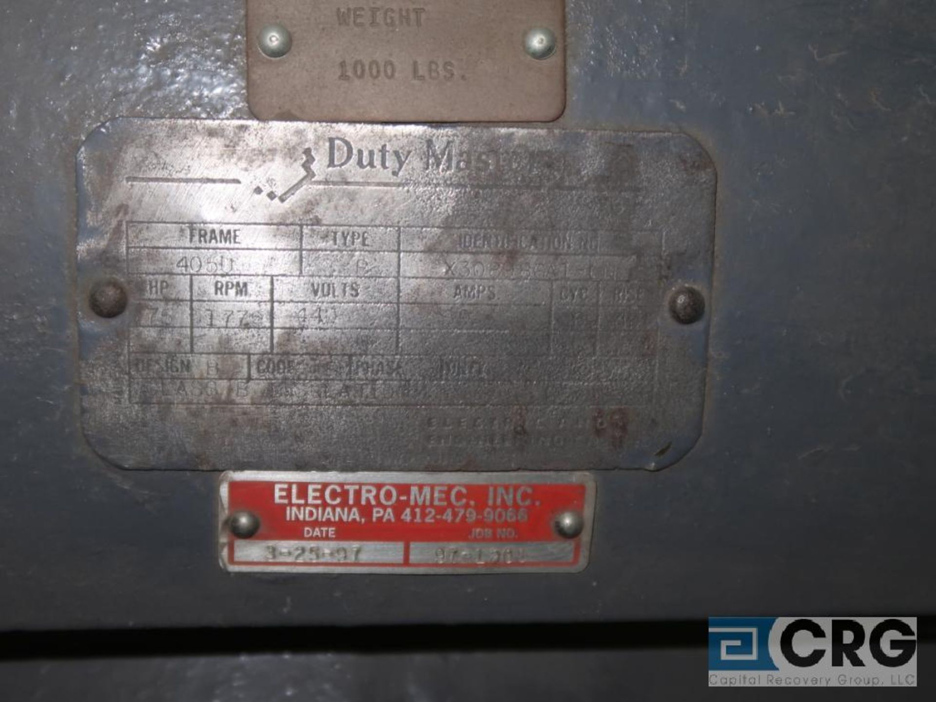 Reliance Duty Master A-C motor, 75 HP, 1,770 RPMs, 440 volt, 3 ph., 405U frame (Finish Building) - Image 2 of 2