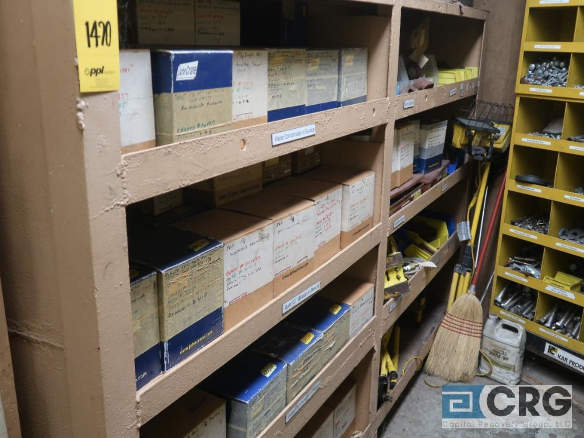 Lot of assorted parts on (4) sections and on wood shelving including motor, guards, housing, pump - Image 17 of 20