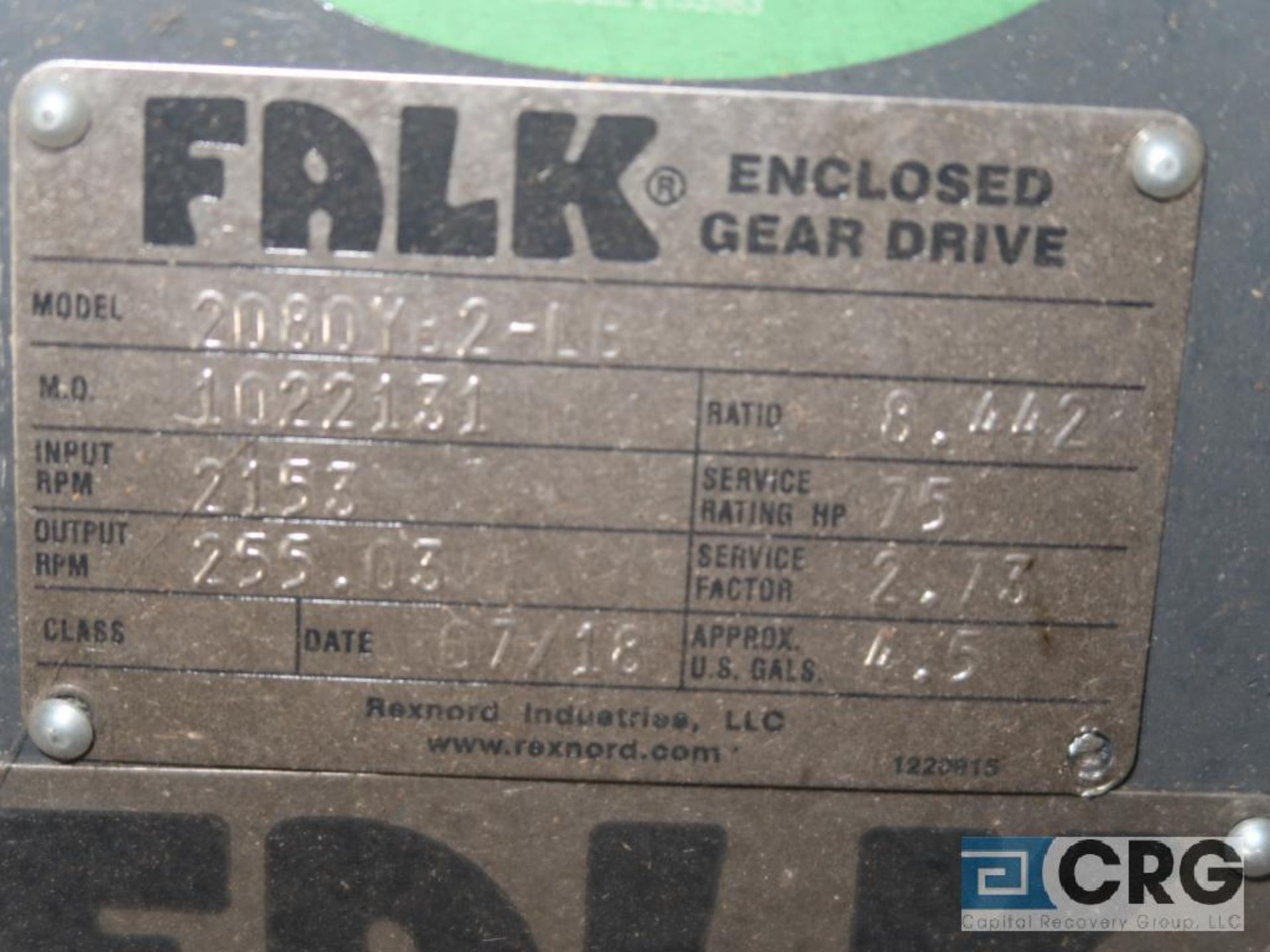 Falk 2080YB2LB gear drive, ratio-8.442, input RPM 2,153, output RPM 255.3, service rate HP. 75, s/ - Image 3 of 3