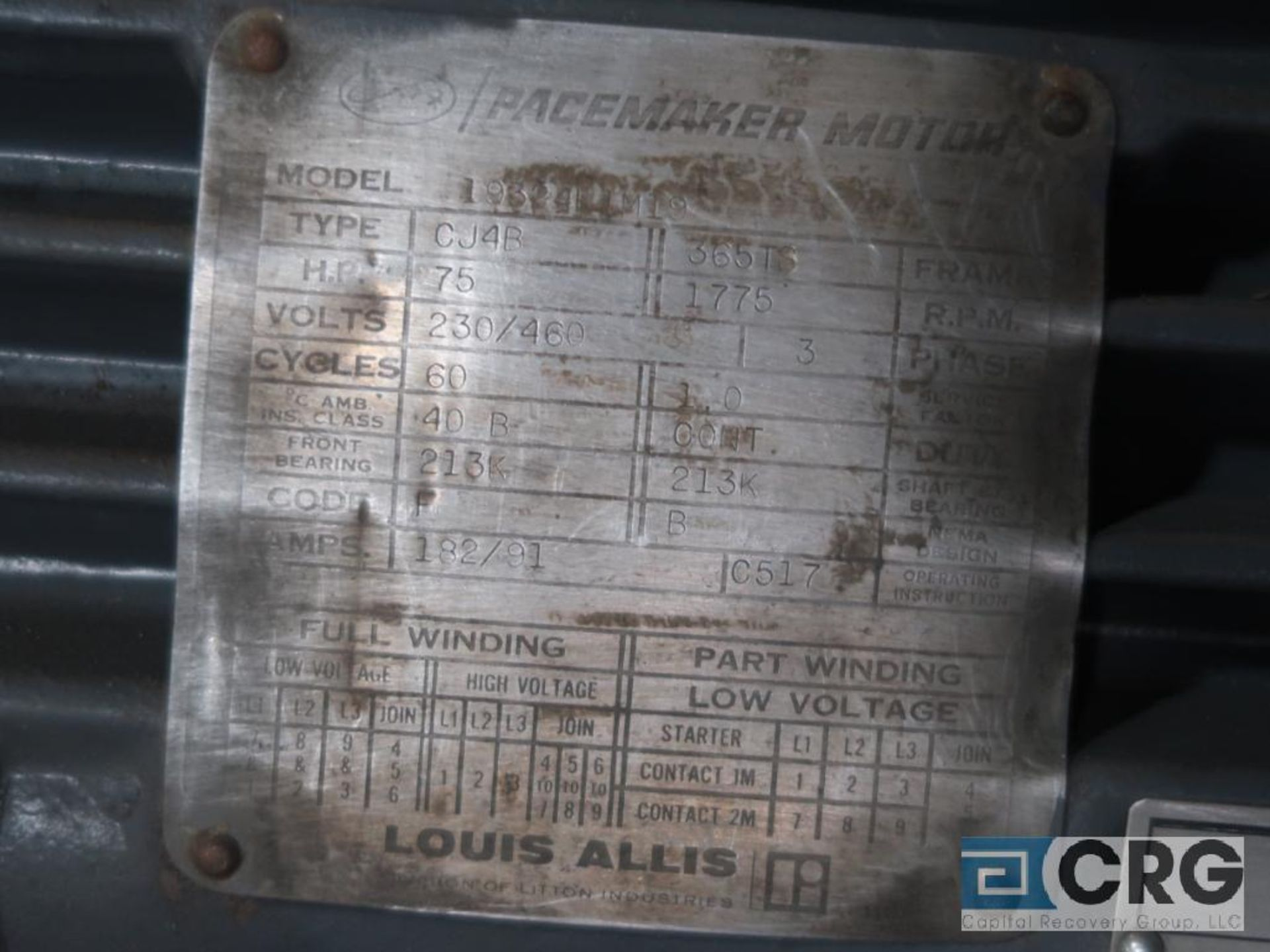 Louis-Allis Pacemaker motor, 75 HP, 1,775 RPMs, 230/460 volt, 3 ph., 365TS frame (Finish Building) - Image 2 of 2