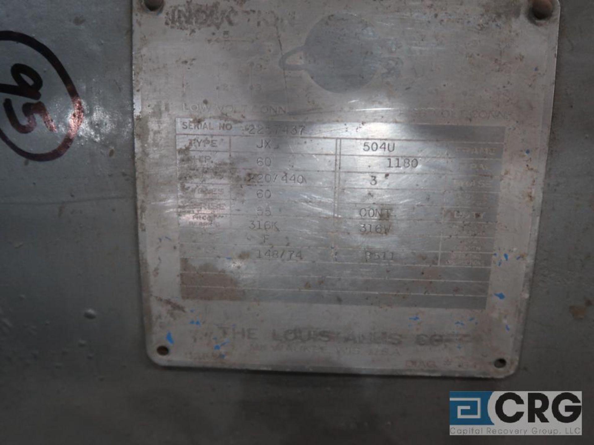 Louis-Allis induction motor, 60 HP, 1,180 RPMs, 220/440 volt, 3 ph., 504U frame (Finish Building) - Image 2 of 2
