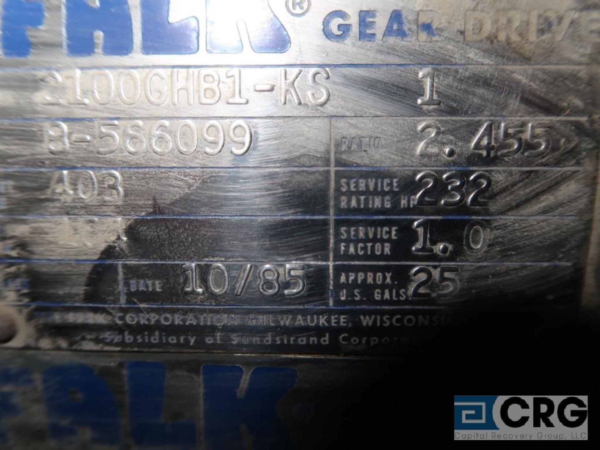 Falk 2100 GH81 KS gear drive, ratio-2.455, input RPM 403, output RPM 164, service rate HP. 232, s/ - Image 3 of 3