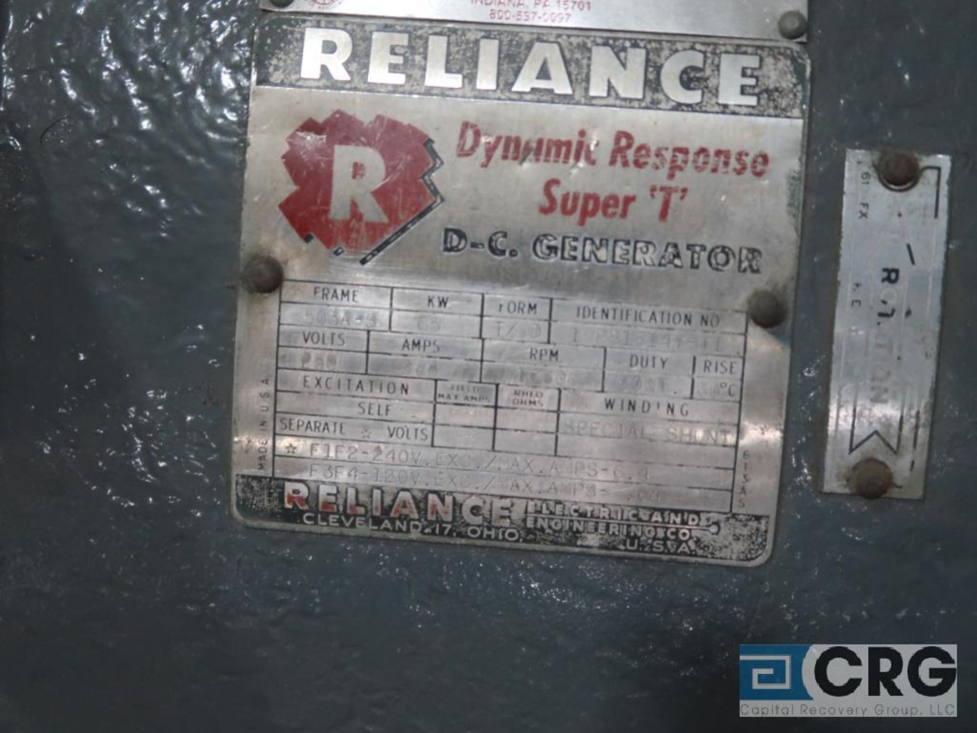 Reliance Dynamic Response Super T DC generator, 75 HP, 1,770 RPMs, 250 volt, 3 ph., 503A-S frame ( - Image 2 of 2