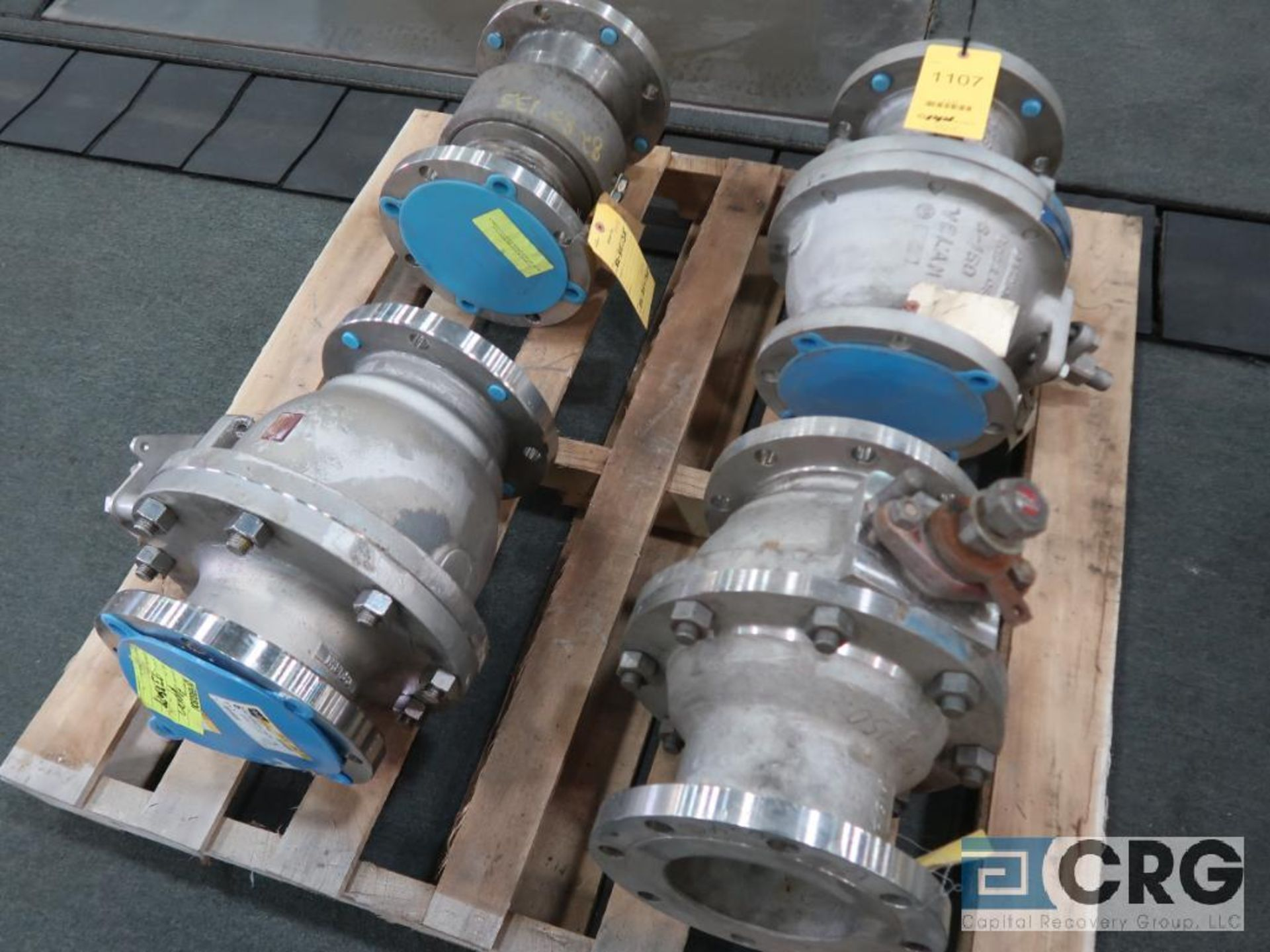 Lot of (4) 6 in. stainless ball valves (Finish Building)