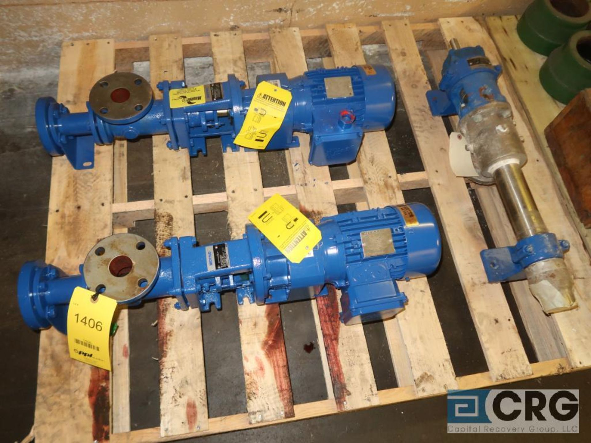 Lot of assorted Moyno pump parts on (4) pallets including gaskets, worm shafts, and seals (