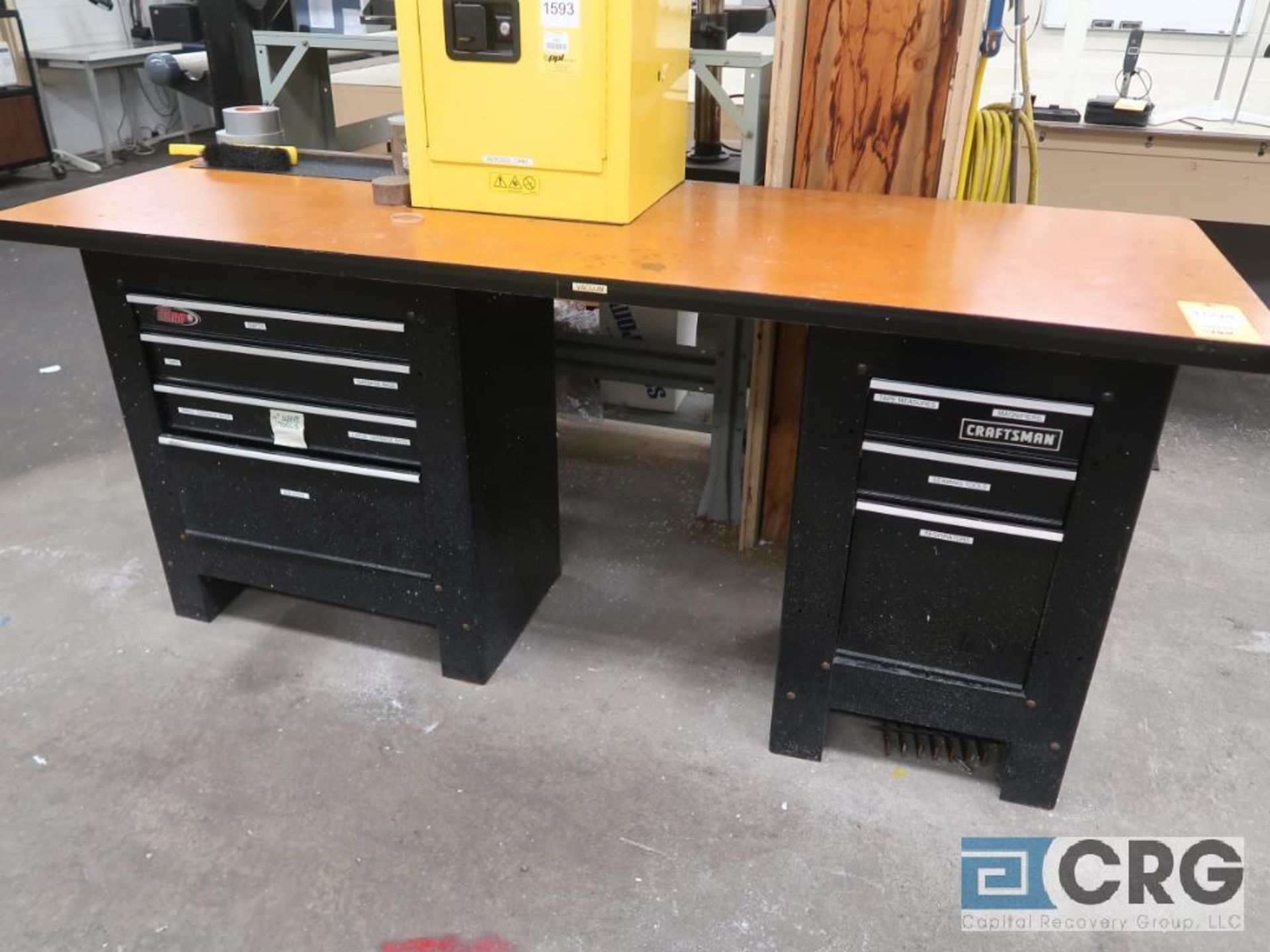 Lot including (1) Craftsman workbench with contents, (1) 3-drawer cabinet, (1) 4-drawer cabinet(