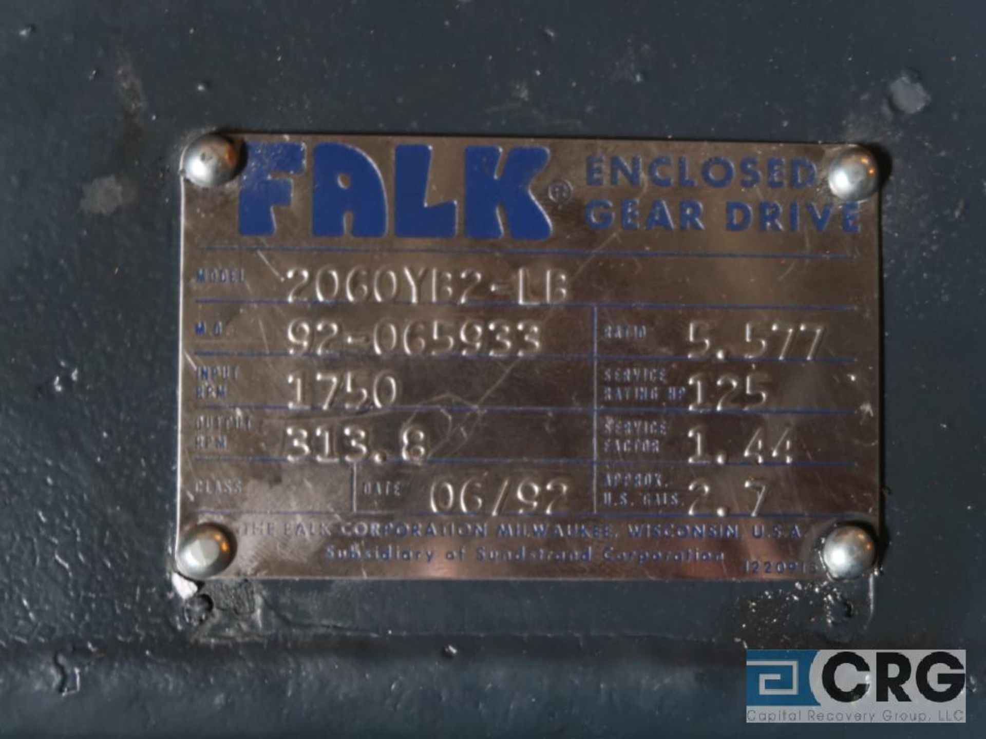 Falk 2060YB2 LB gear drive, ratio-5.577, input RPM 1,750, output RPM 313.8, service rate HP. 125, - Image 3 of 3