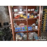 Lot of assorted steel and stainless pipe including steel cabinet, and wall mounted trays with