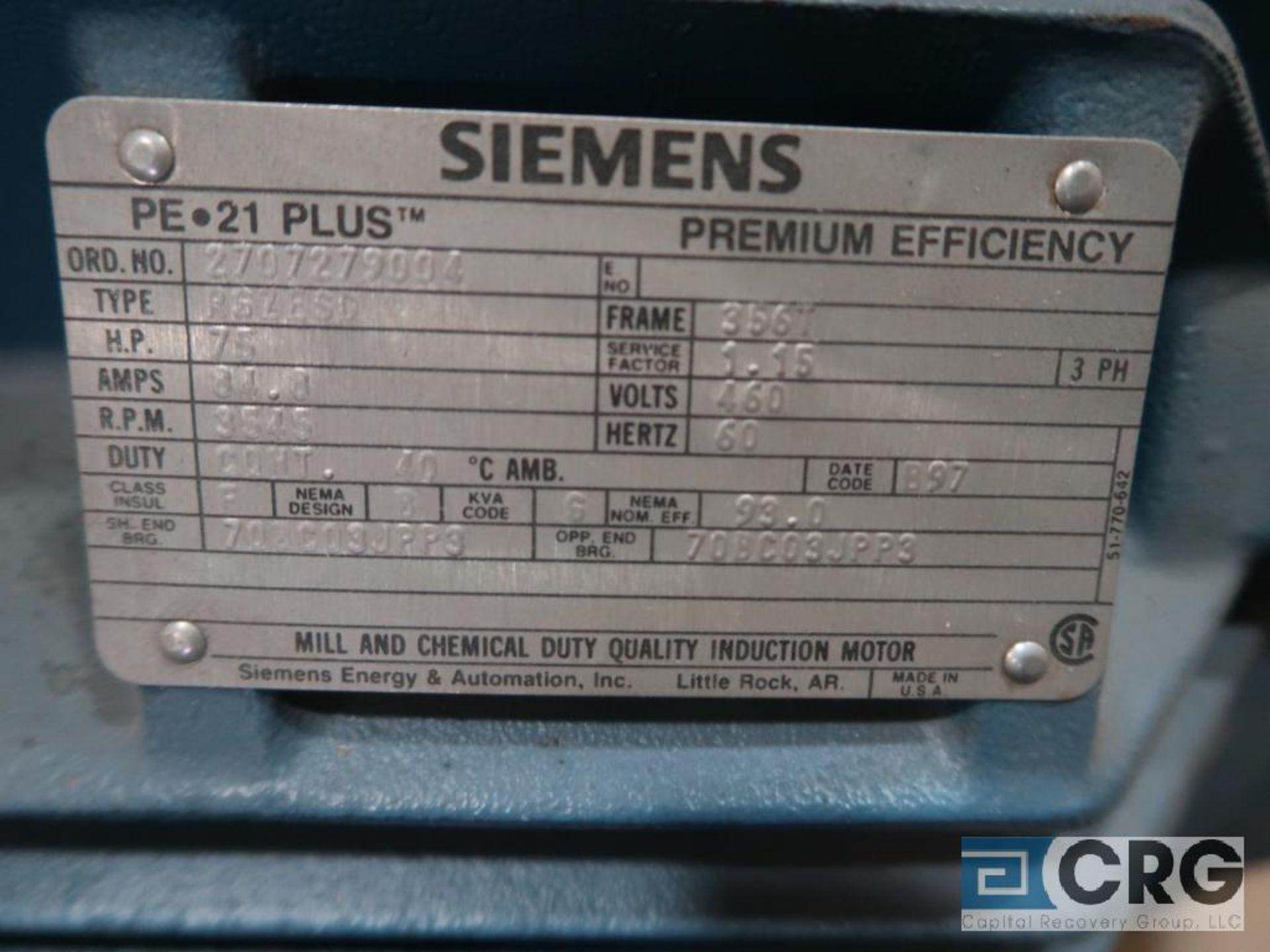 Siemens PE-21 PLUS motor, 75 HP, 3,545 RPMs, 460 volt, 3 ph., 356T frame (Finish Building) - Image 2 of 2