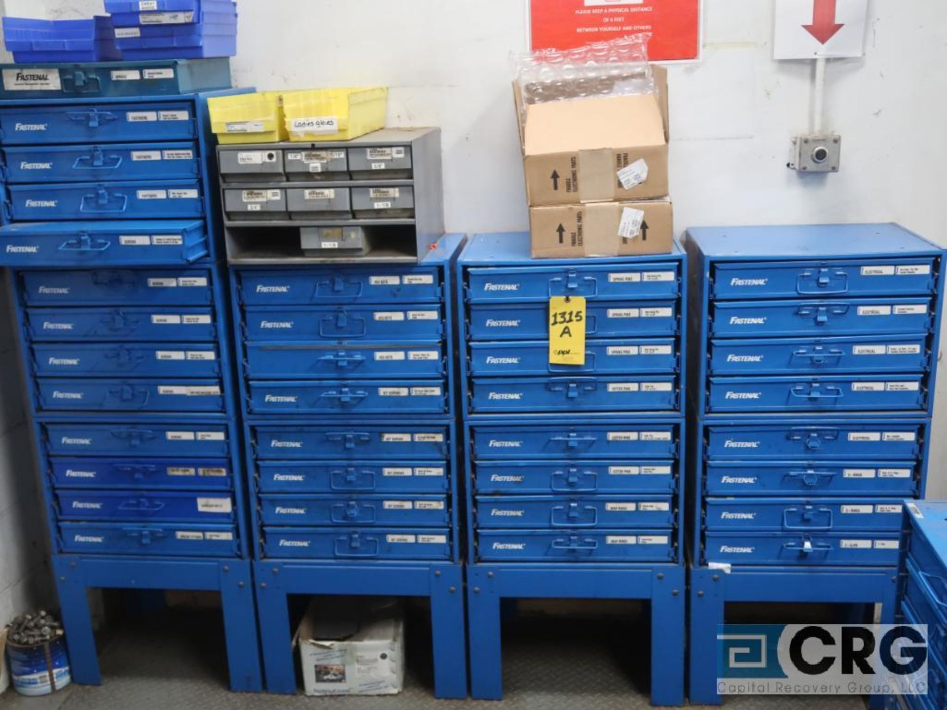 Nut and bolt 4 drawer parts bin with parts including wire, nuts, springs, cotter pins, and bin - Image 2 of 4