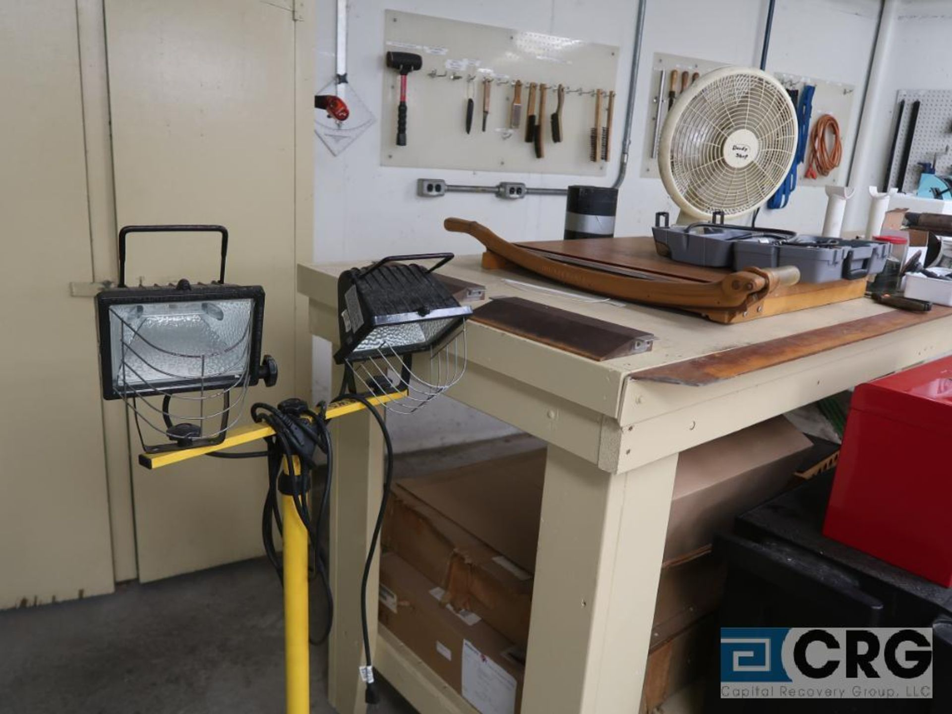 Lot including 2-door wood cabinet with contents including ass't hand tools, on back & side wall, all - Image 6 of 6