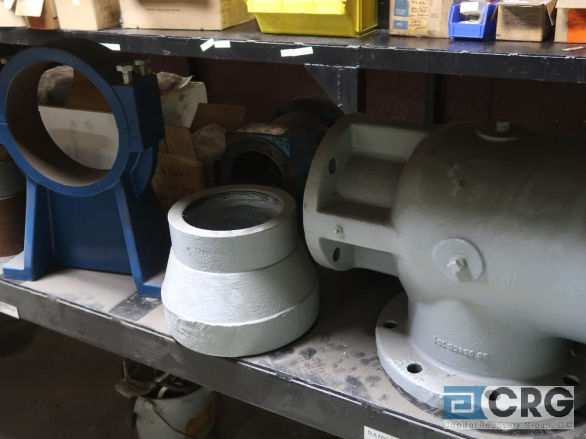 Lot of assorted parts on (4) sections and on wood shelving including motor, guards, housing, pump - Image 5 of 20