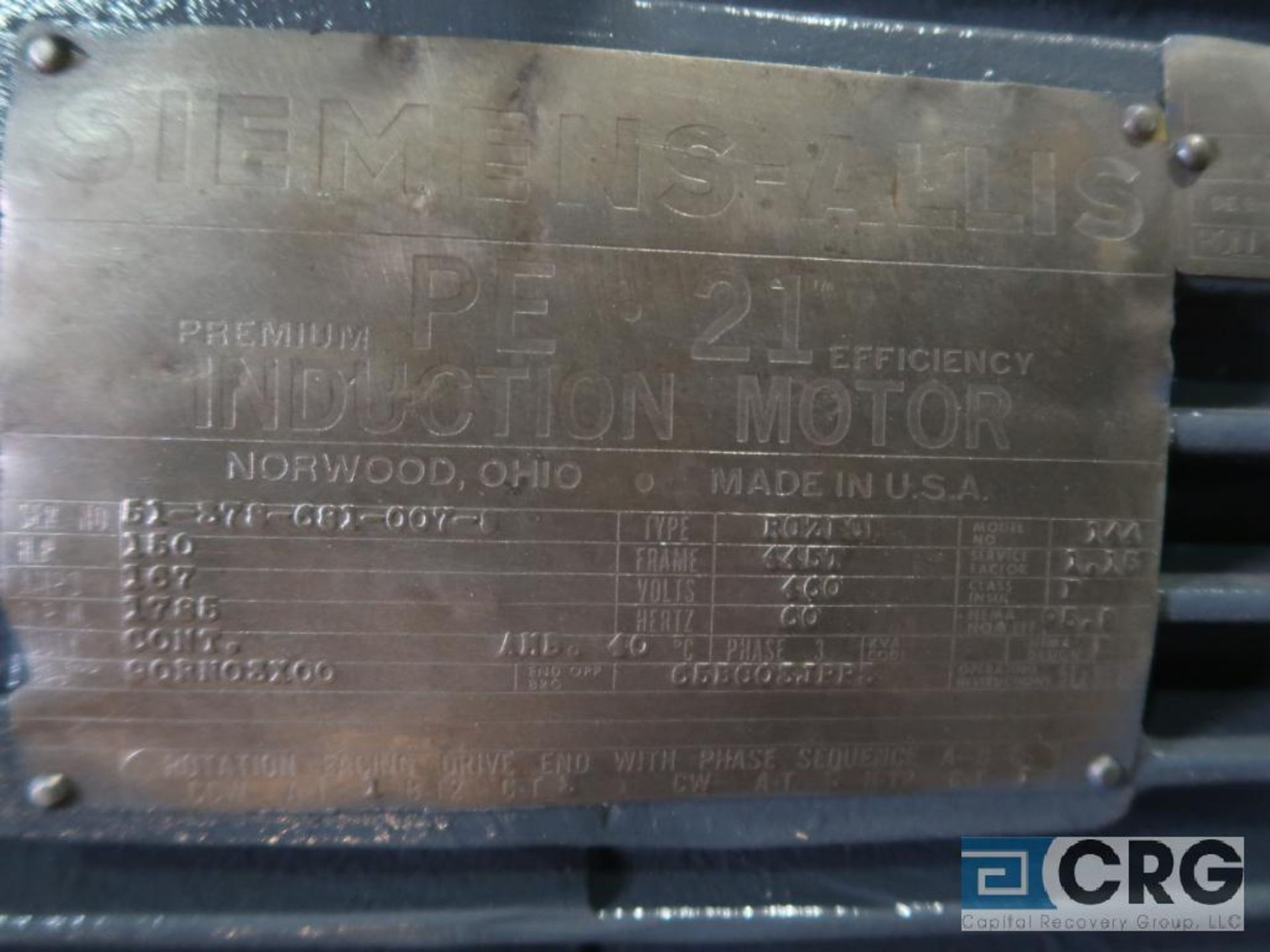 Siemens-Allis PE-21 efficiency motor, 150 HP, 1,785 RPMs, 460 volt, 3 ph., 445T frame (Finish - Image 2 of 2