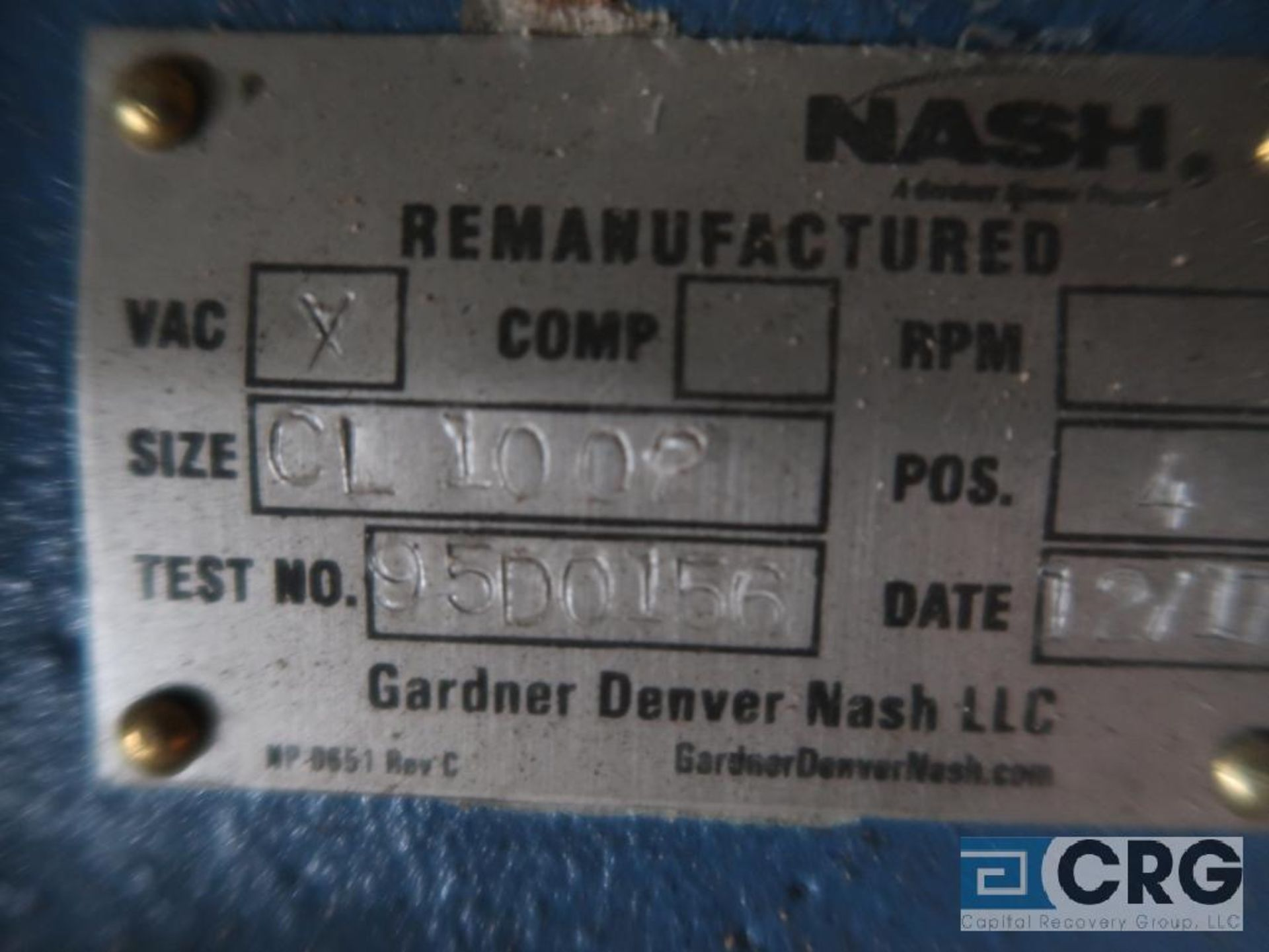 Nash CL1002 vacuum pump, remanufactured year 2007, s/n 85U0918 (Off Site Warehouse) - Image 2 of 2