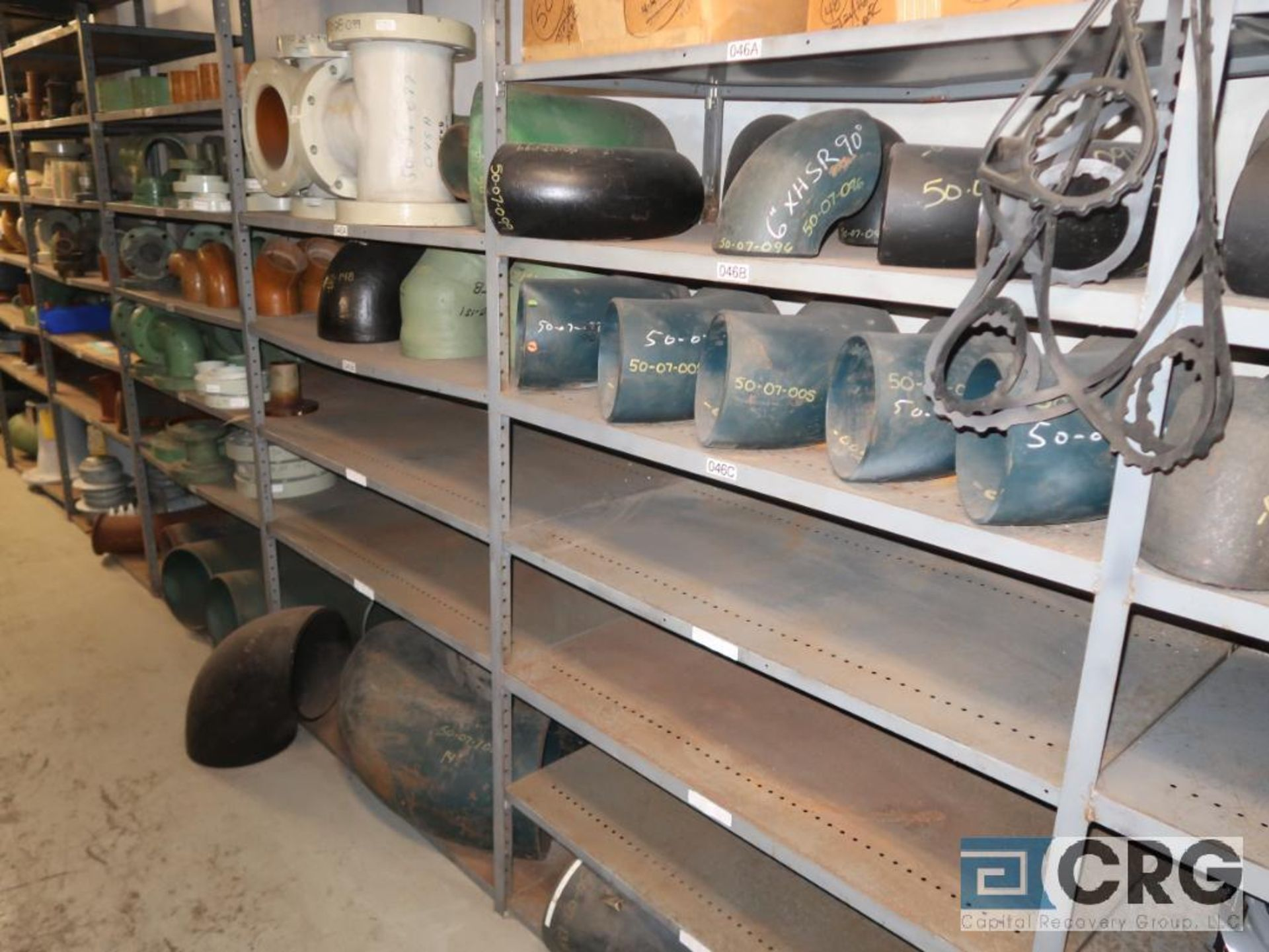 Lot of (15) sections with assorted parts including fiberglass pipes, fittings, steel fittings, tee' - Image 2 of 11