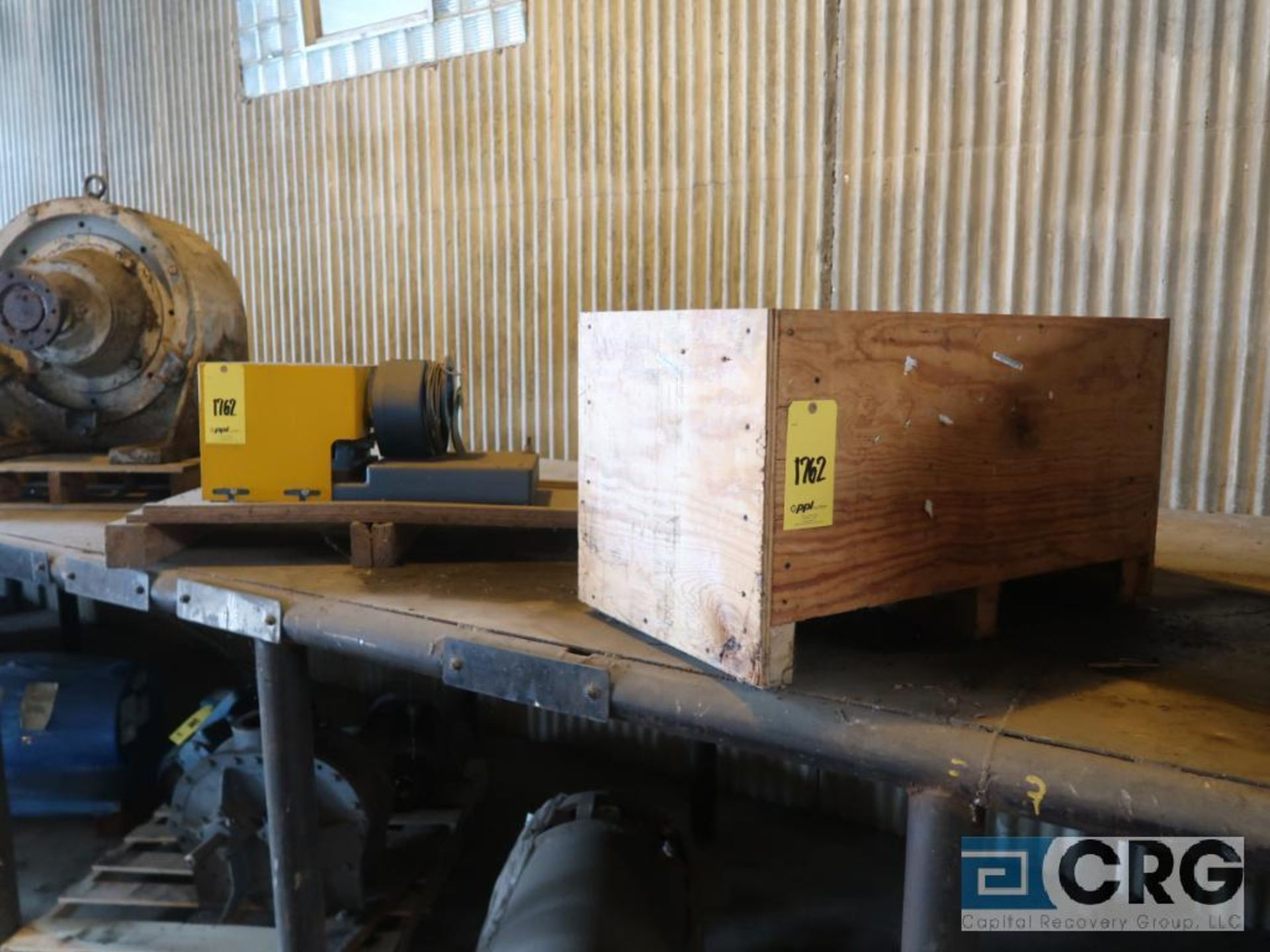 Lot of assorted motor, gear bearing housing, gear drive on metal rack (Next Bay Cage Area) - Image 5 of 16