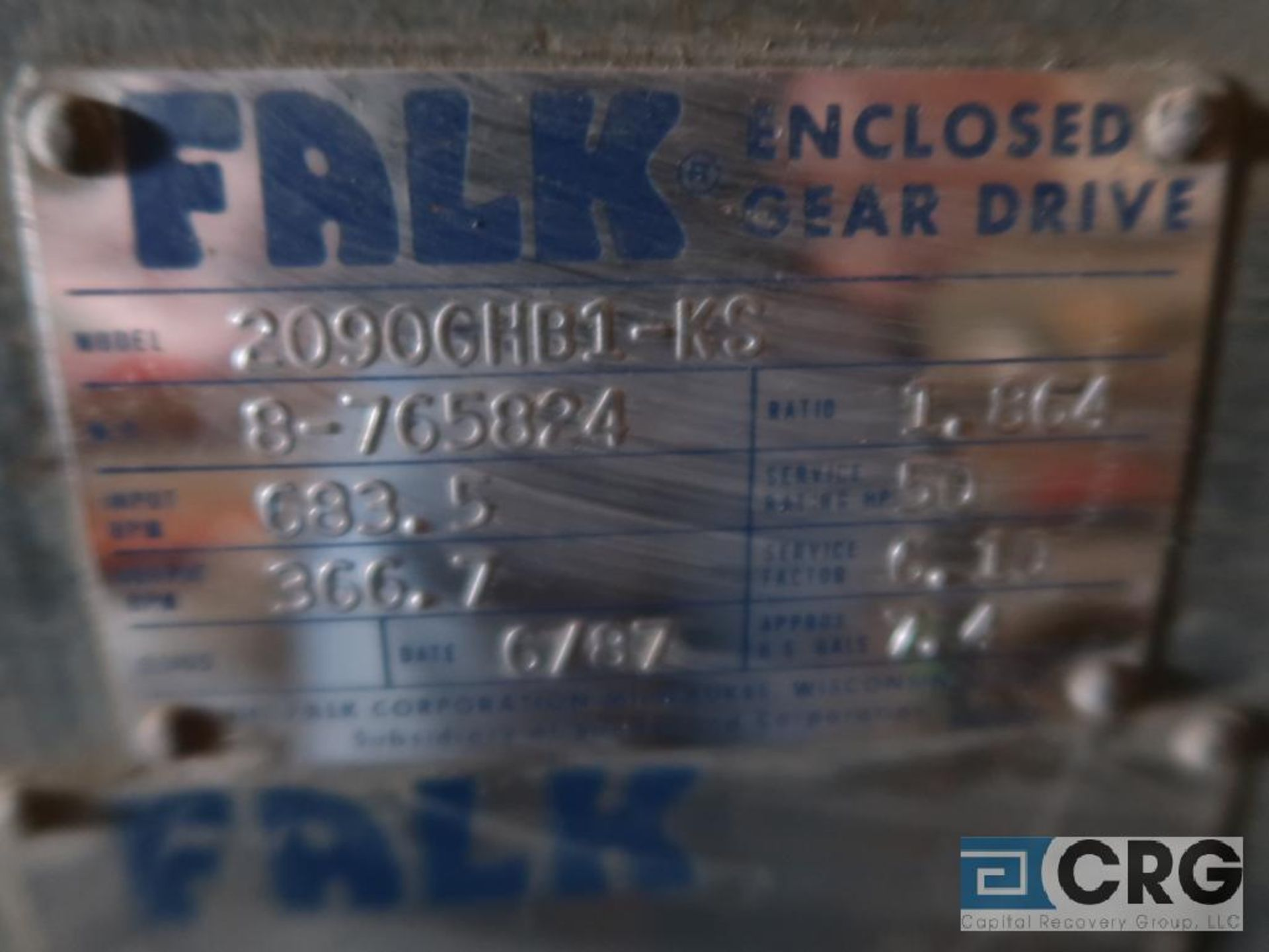 Falk 2090 GHB1KS gear drive, ratio-1.864, input RPM 683.5, output RPM366.7, service rate HP. 50, s/n - Image 2 of 2
