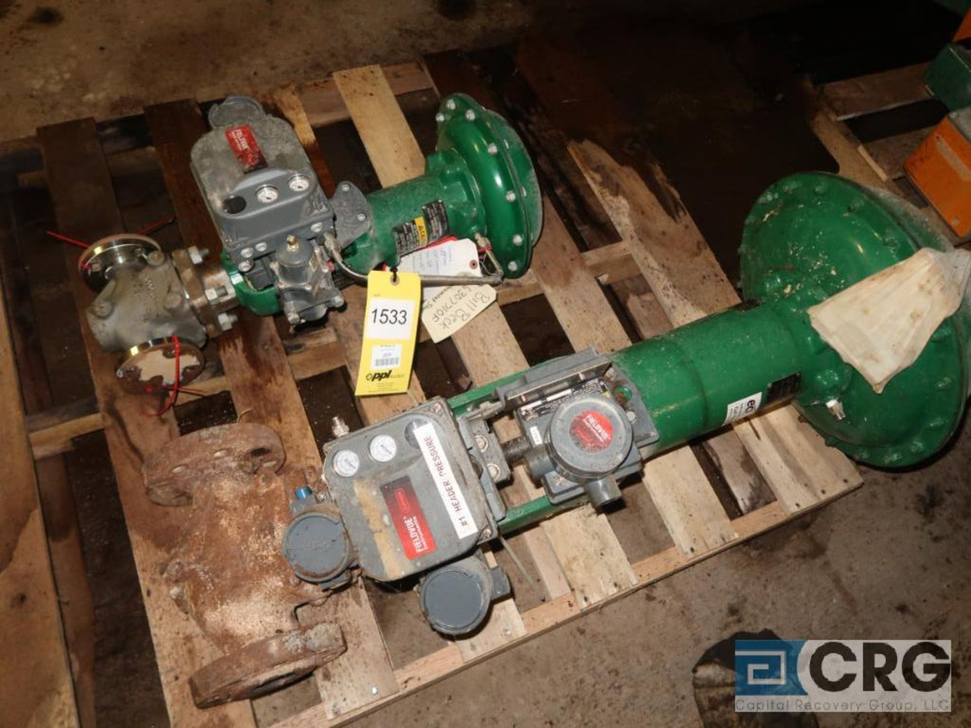 Lot of (2) assorted Fisher valves (496 Dock Area)