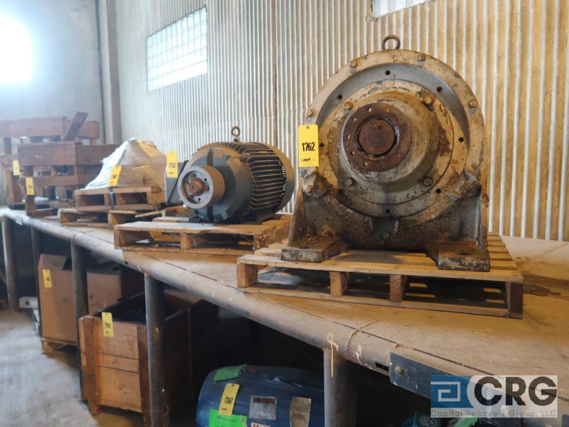 Lot of assorted motor, gear bearing housing, gear drive on metal rack (Next Bay Cage Area) - Image 6 of 16