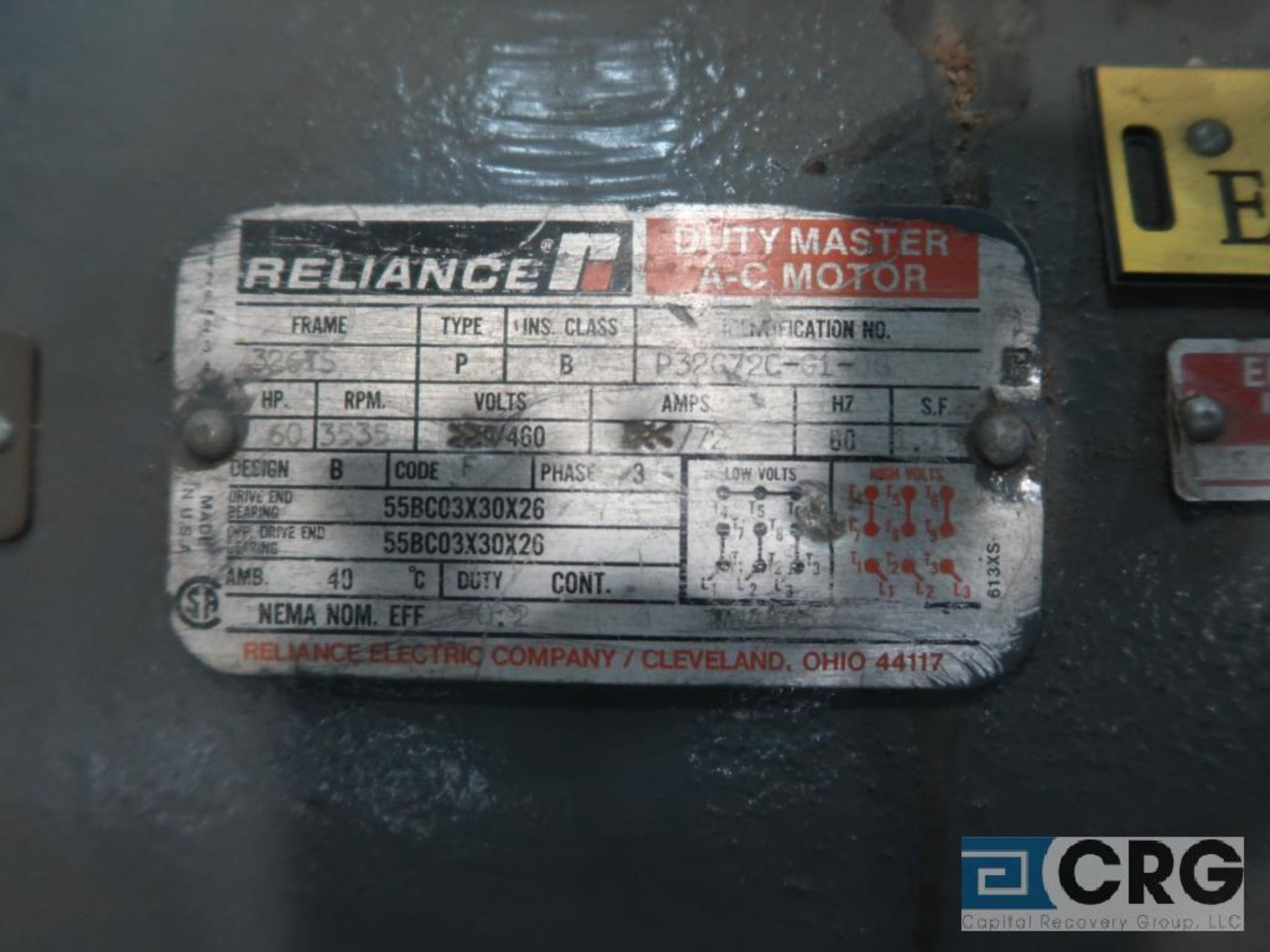 Reliance Duty Master A-C motor XE Energy Efficient, 75 HP, 3,560 RPMs, 460 volt, 3 ph., 365TS - Image 2 of 2