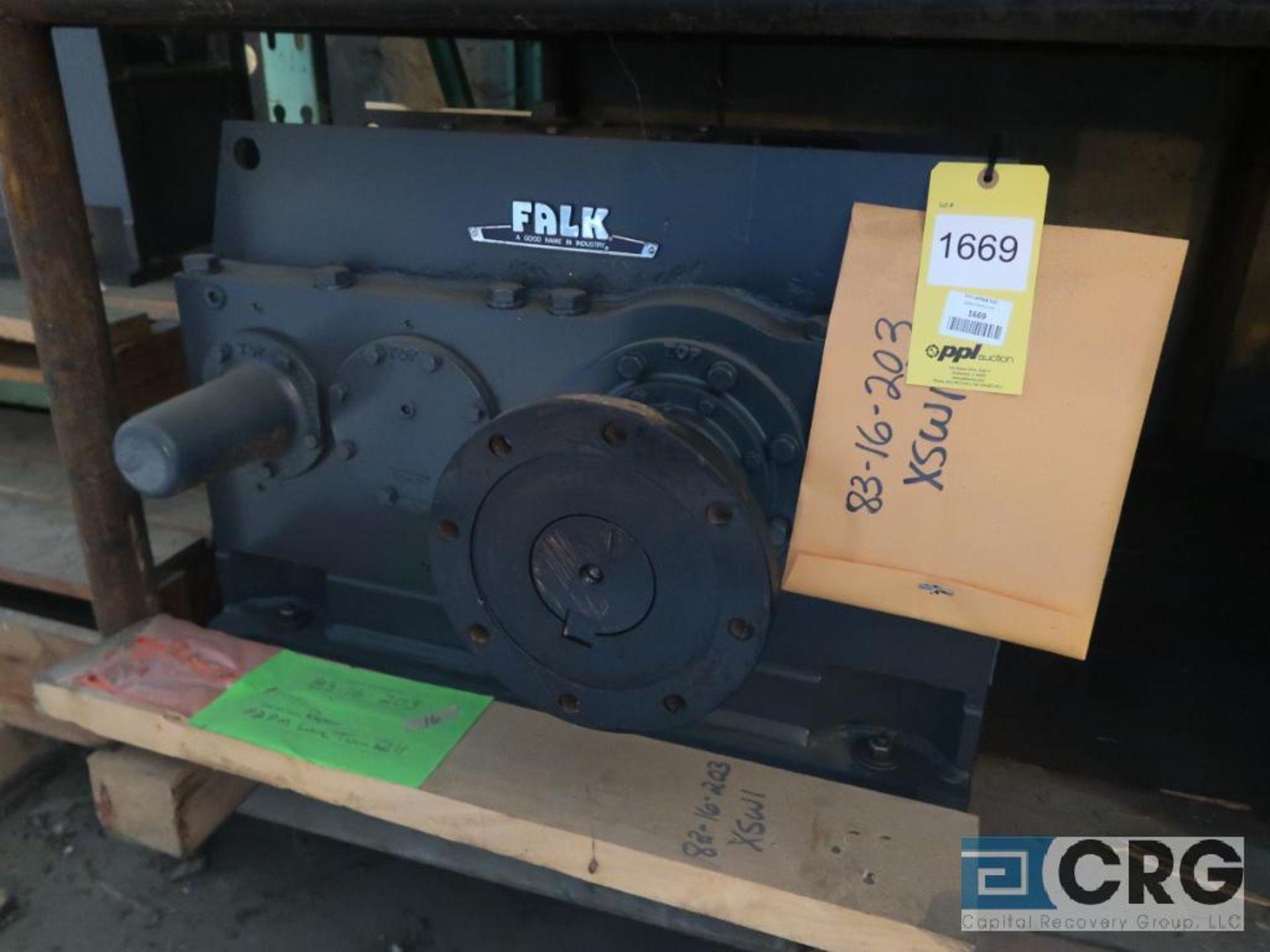 Falk 345 A3 gear drive, ratio-6.289, input RPM 1,750, output RPM 278.4, service rate HP. 125, s/n