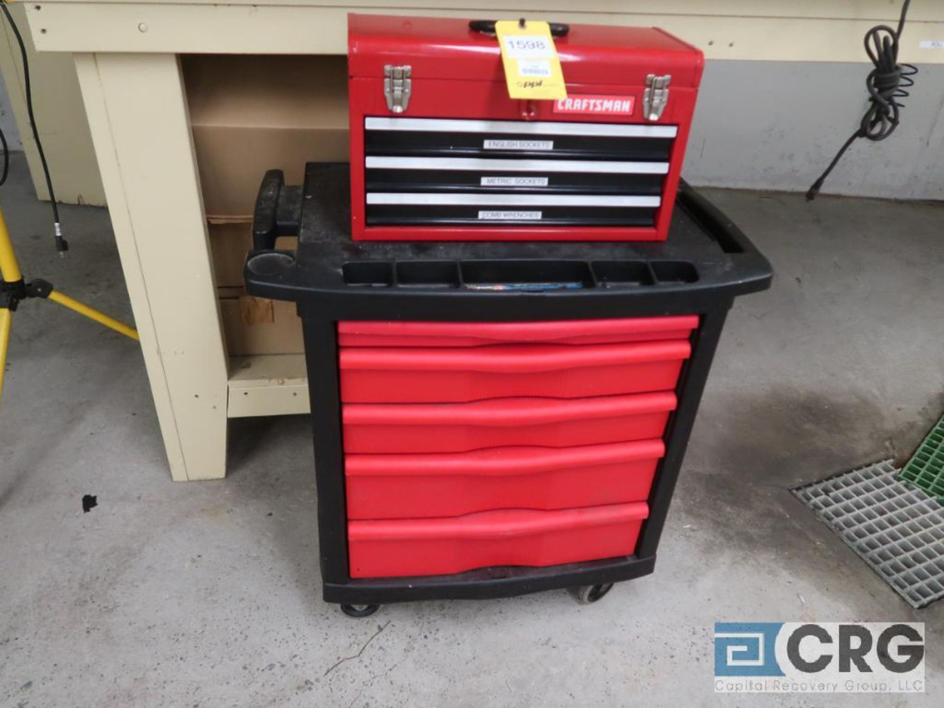 Lot including 2-door wood cabinet with contents including ass't hand tools, on back & side wall, all