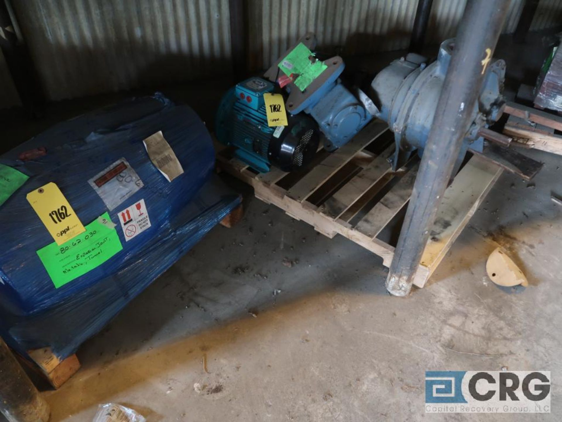 Lot of assorted motor, gear bearing housing, gear drive on metal rack (Next Bay Cage Area) - Image 9 of 16