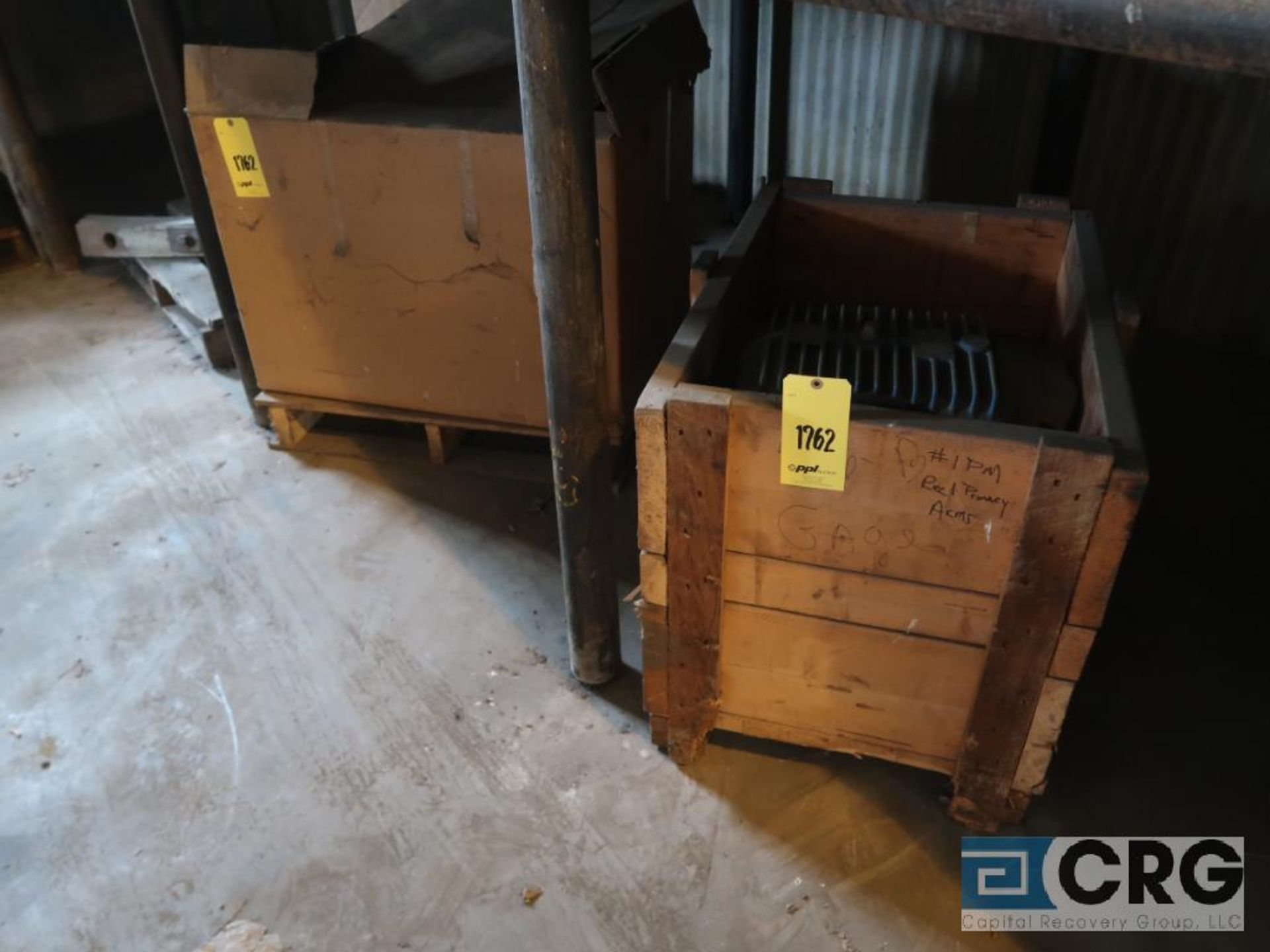 Lot of assorted motor, gear bearing housing, gear drive on metal rack (Next Bay Cage Area) - Image 8 of 16