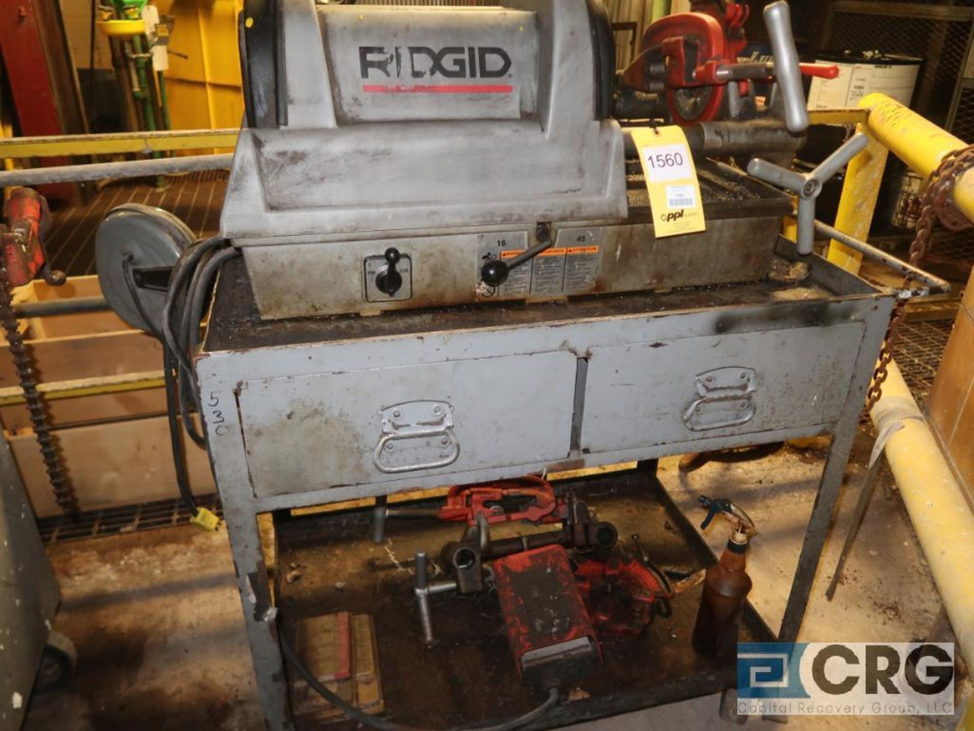 Ridgid 1822-1 pipe threader with (2) assorted heads, s/n EA1-58940197 (496 Dock Area) - Image 2 of 2