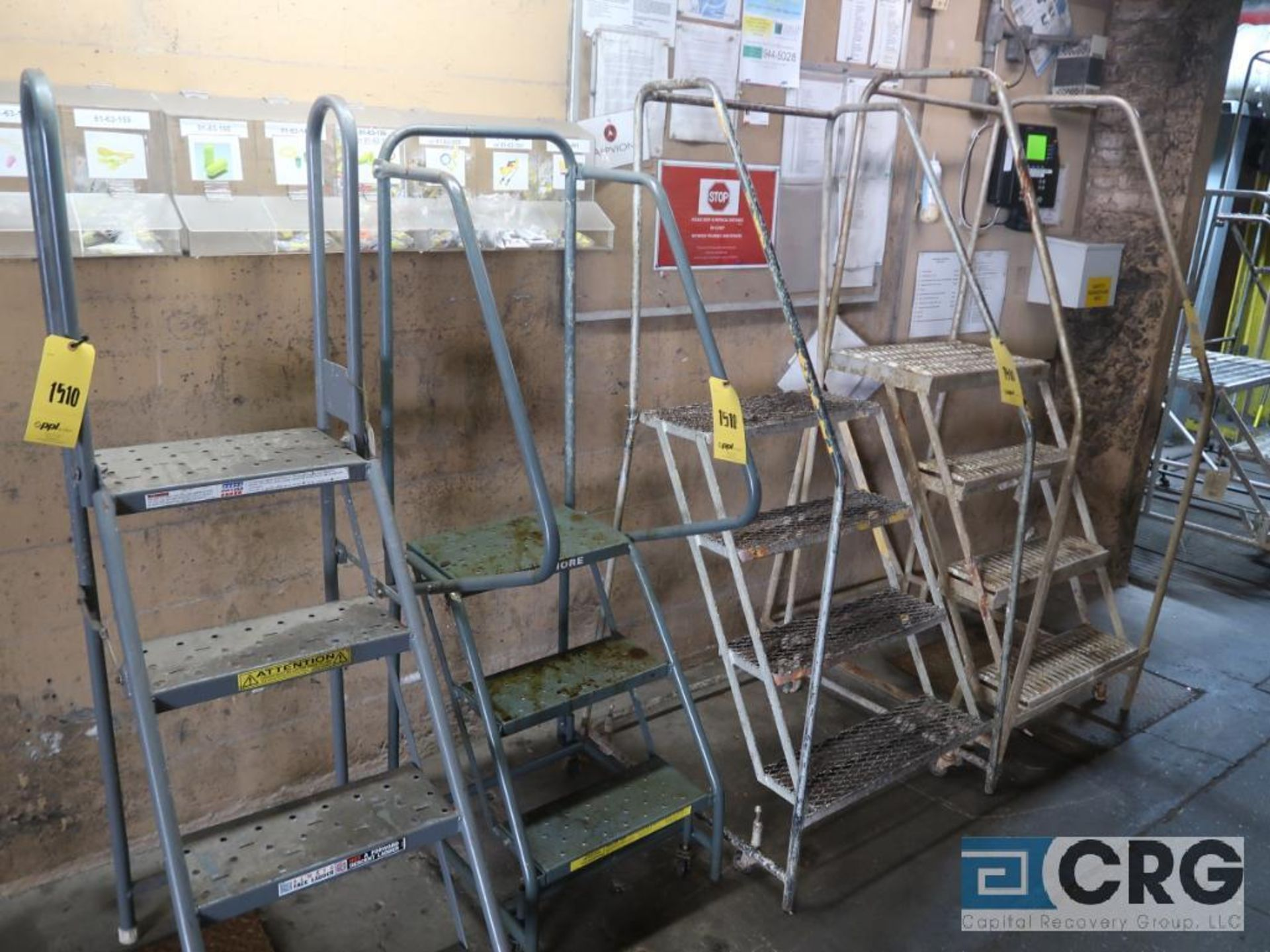 Lot of (7) safety ladders including (2) 3 step, (1) 2 step with work platform, and (3) 4 step ( - Image 2 of 2