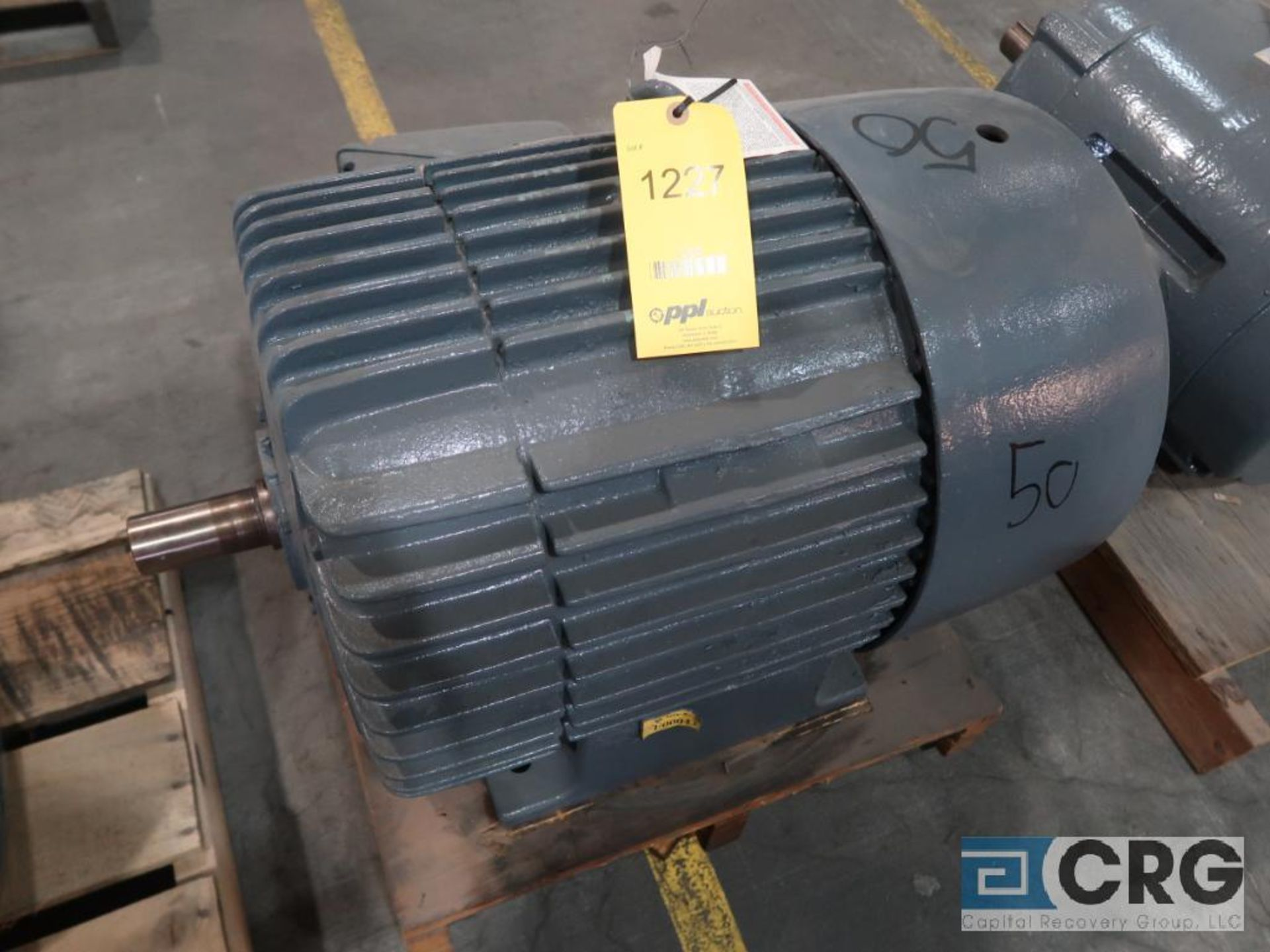 General Electric induction motor, 50 HP, 3,560 RPMs, 208-220/440 volt, 3 ph., 365US frame (Finish